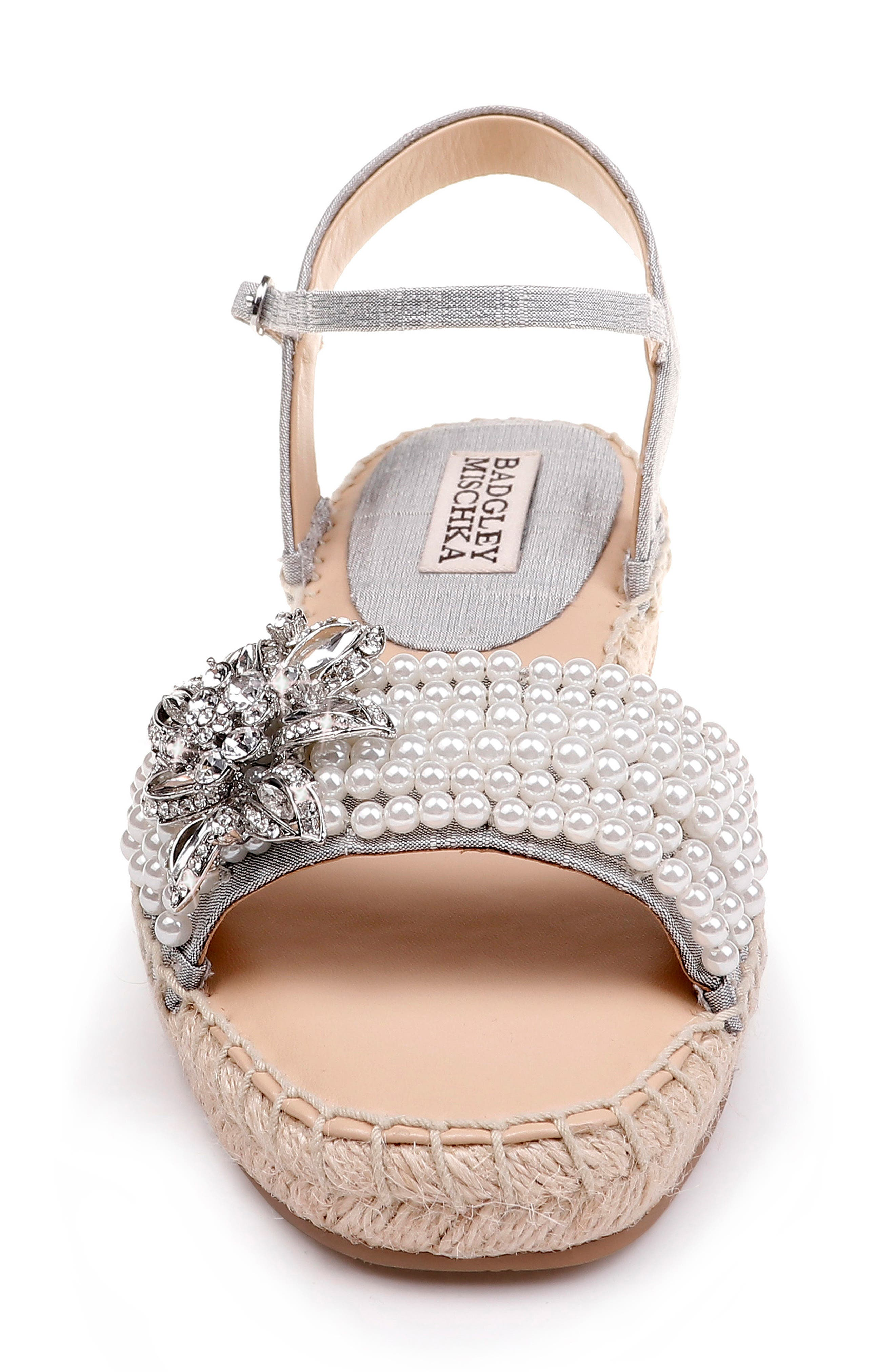 Badgley Mischka Leandra Espadrille Sandal,                             Alternate thumbnail 4, color,                             SILVER FABRIC