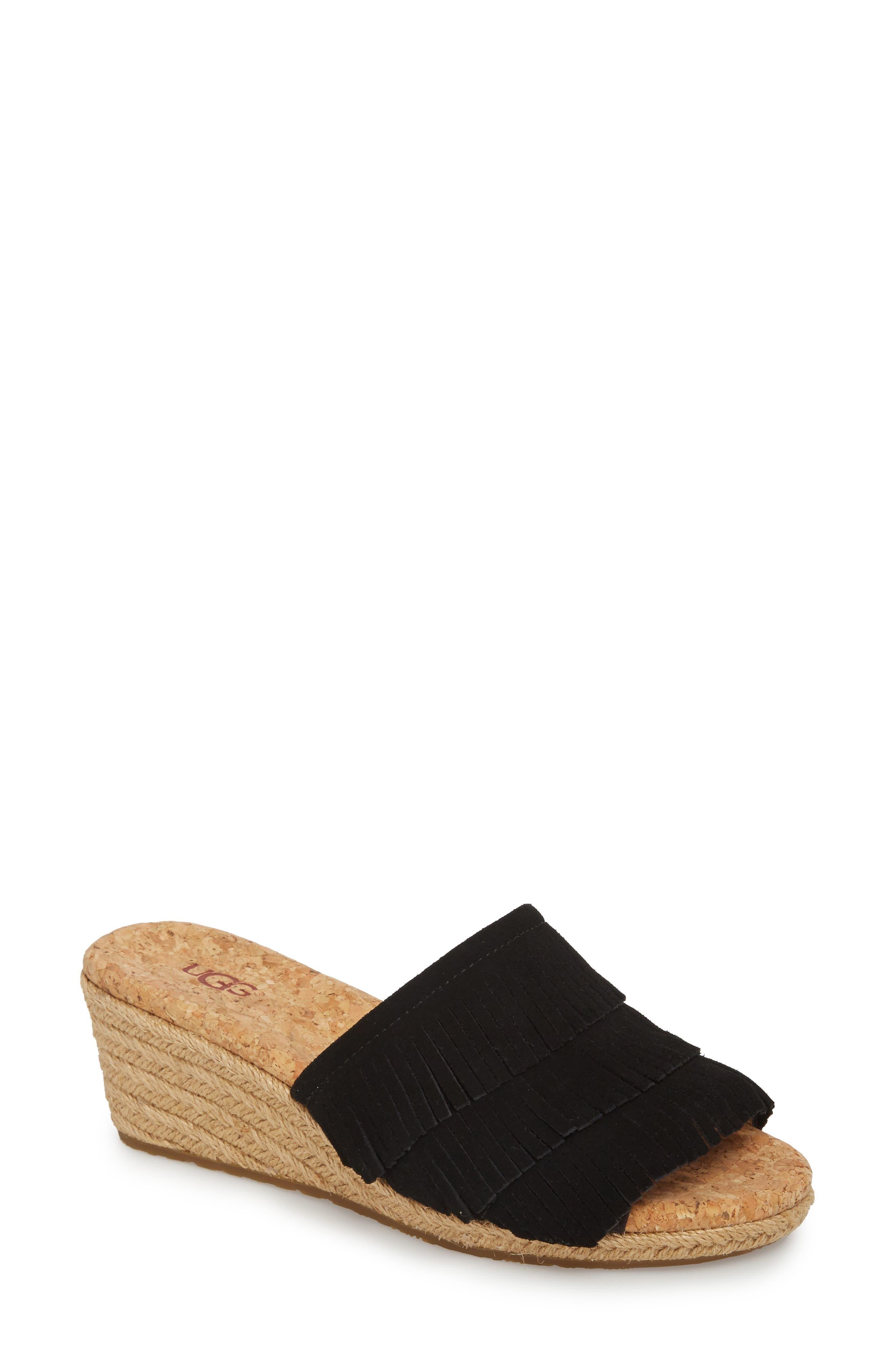 Kendra Fringe Wedge Sandal,                         Main,                         color, 001