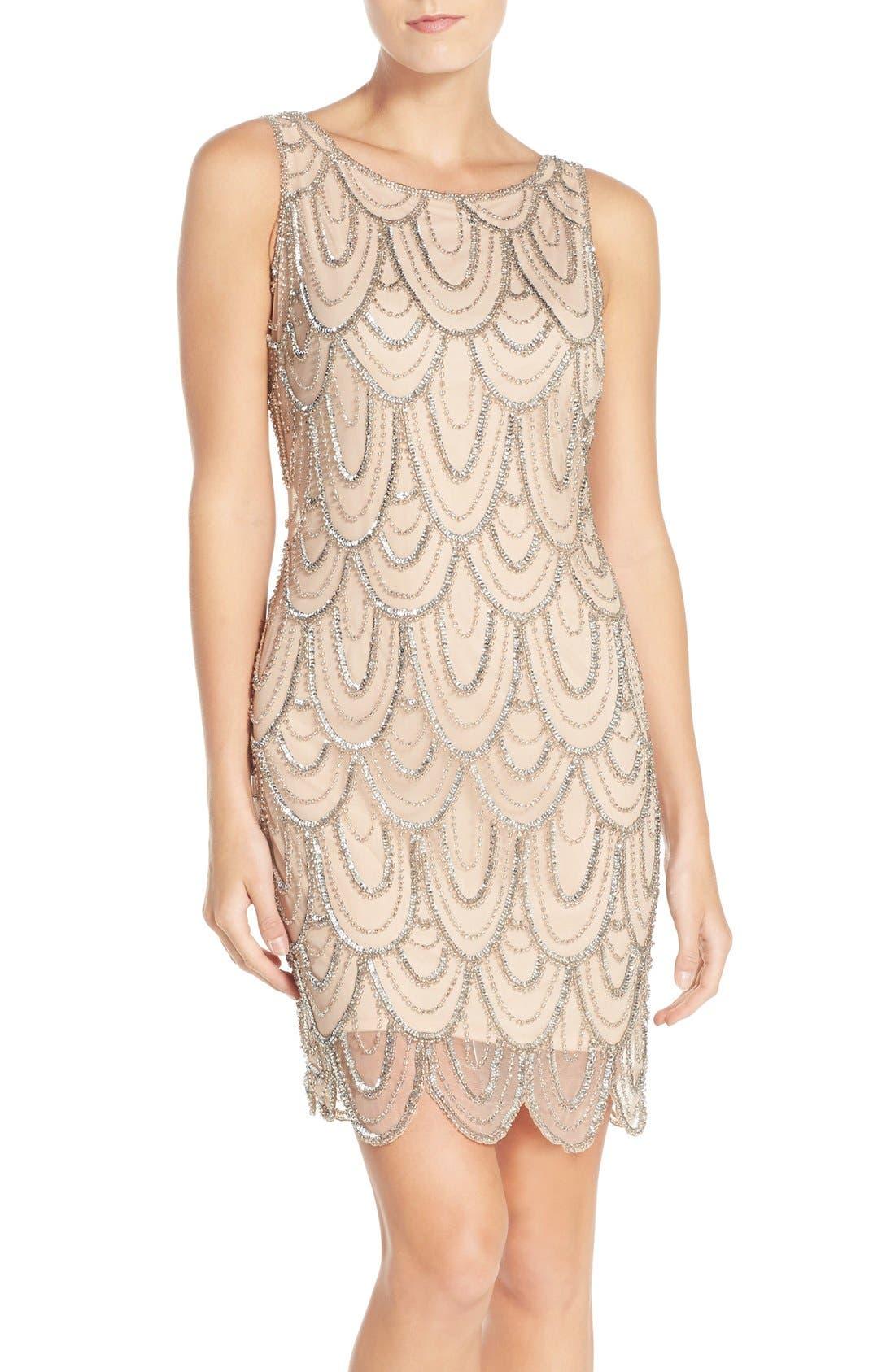 Embellished Mesh Sheath Dress,                             Main thumbnail 20, color,