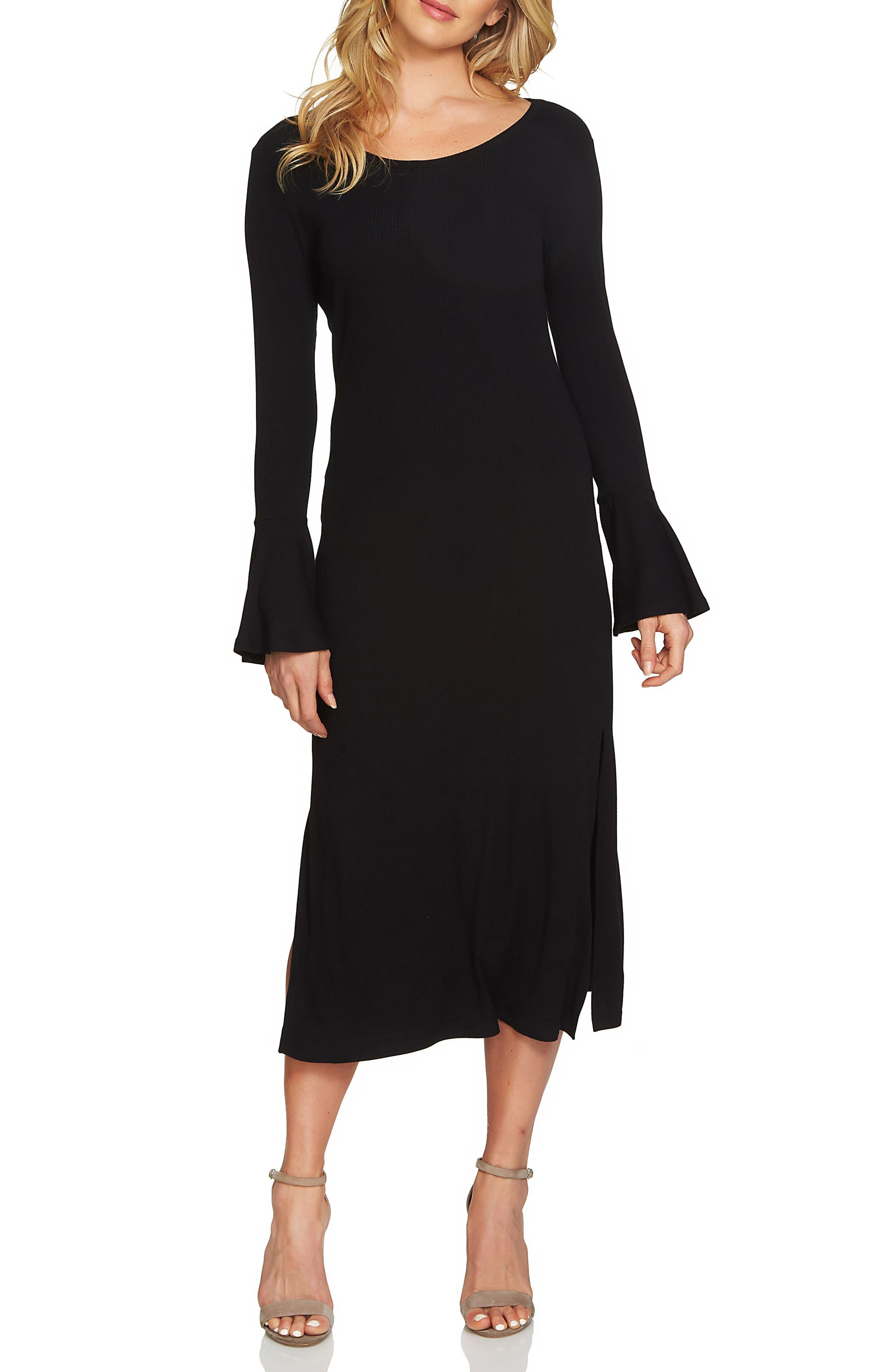 Bell Sleeve Midi Dress,                             Main thumbnail 1, color,                             010