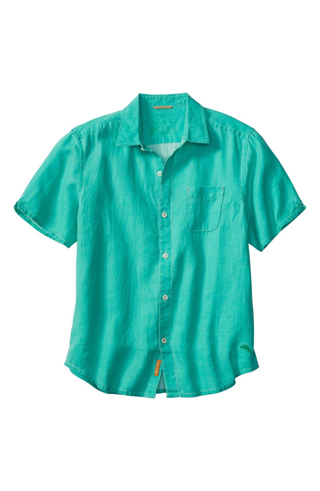 Seaglass Breezer Short Sleeve Linen Sport Shirt,                             Main thumbnail 5, color,