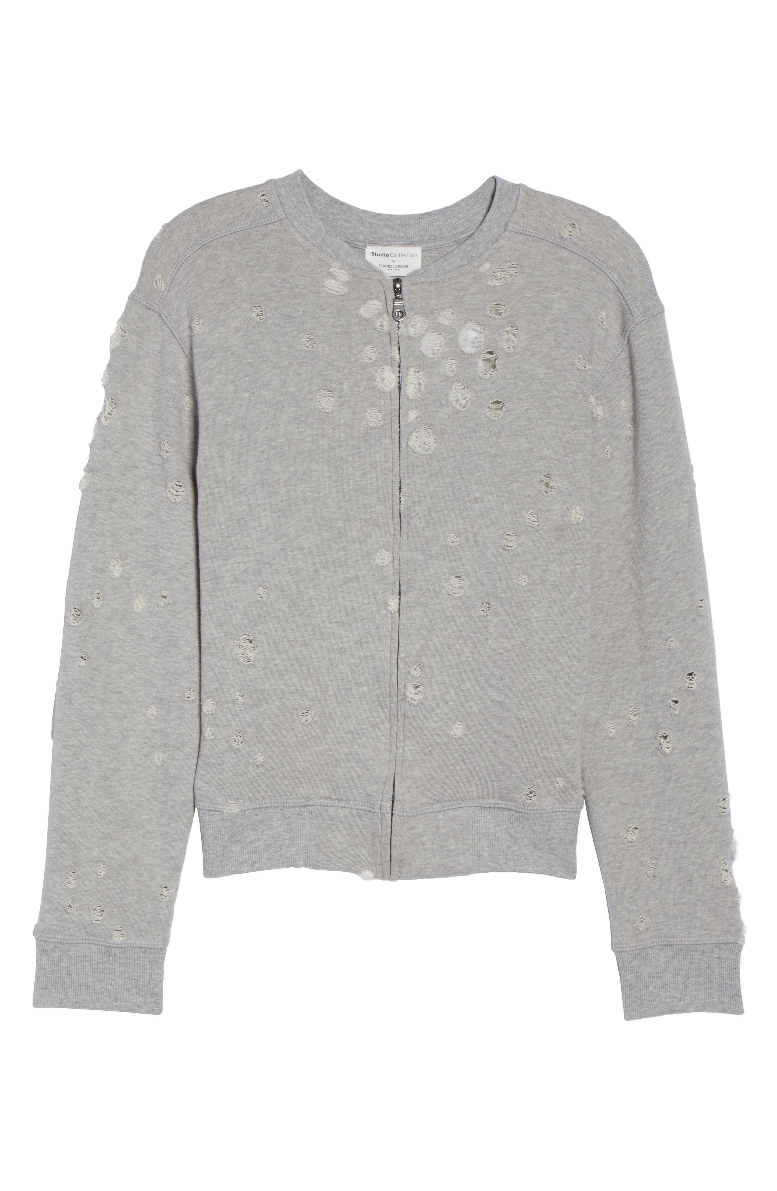 Distressed Zip Sweatshirt,                             Alternate thumbnail 6, color,                             HEATHER GREY