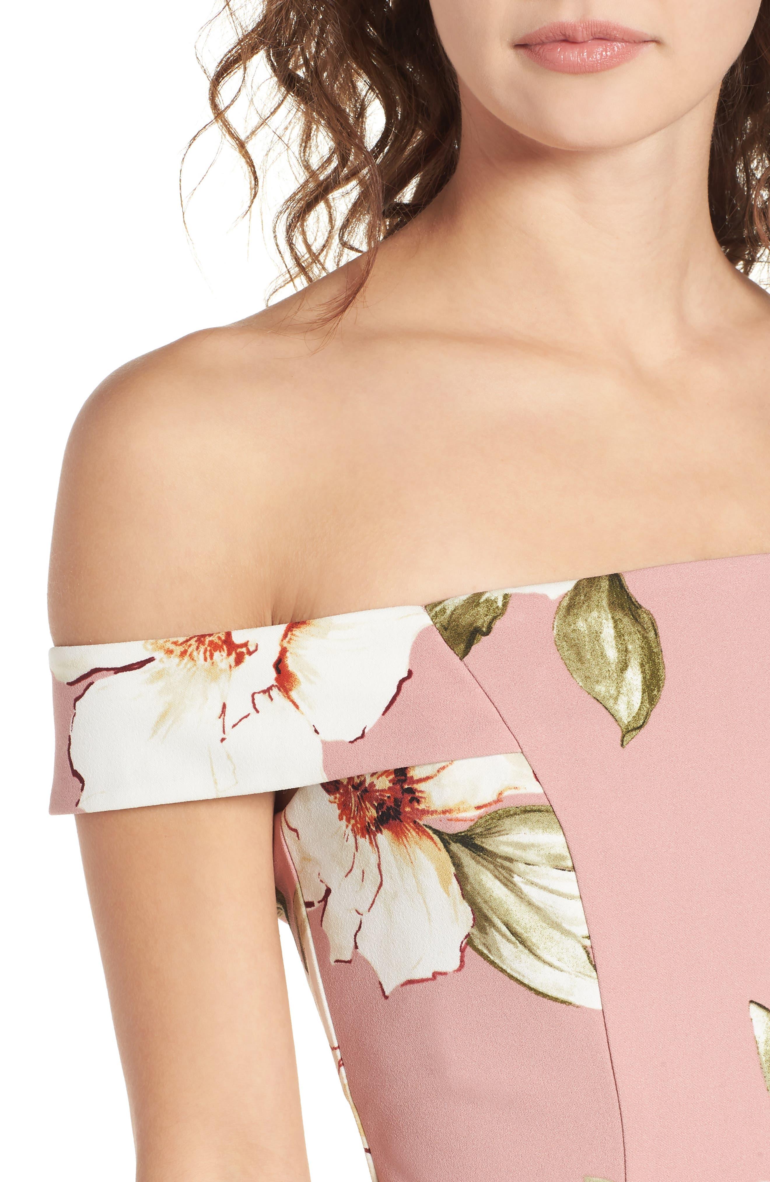 Floral Print Off the Shoulder A-Line Dress,                             Alternate thumbnail 4, color,