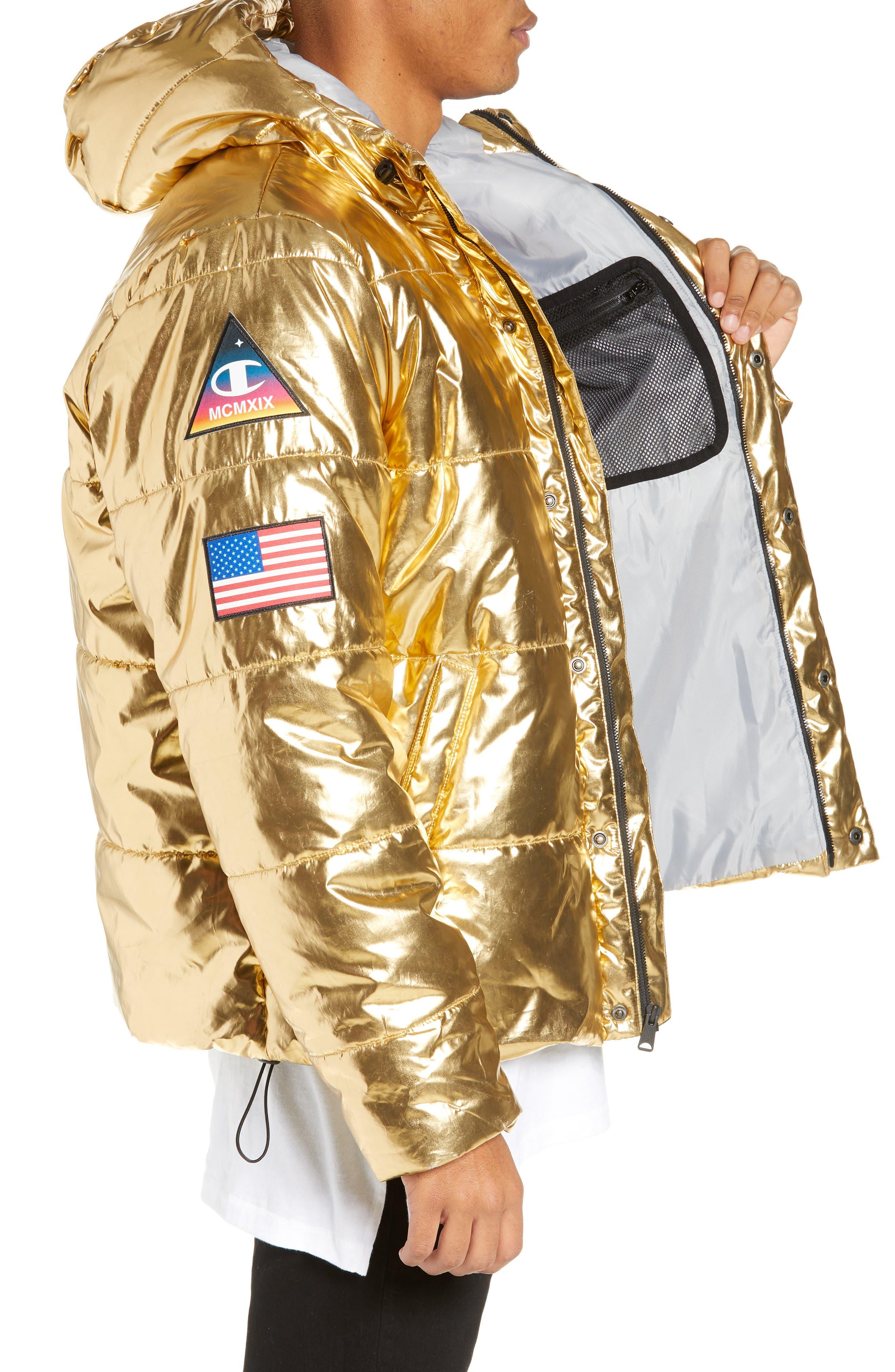 CHAMPION,                             Metallic Puffer Coat,                             Alternate thumbnail 4, color,                             718