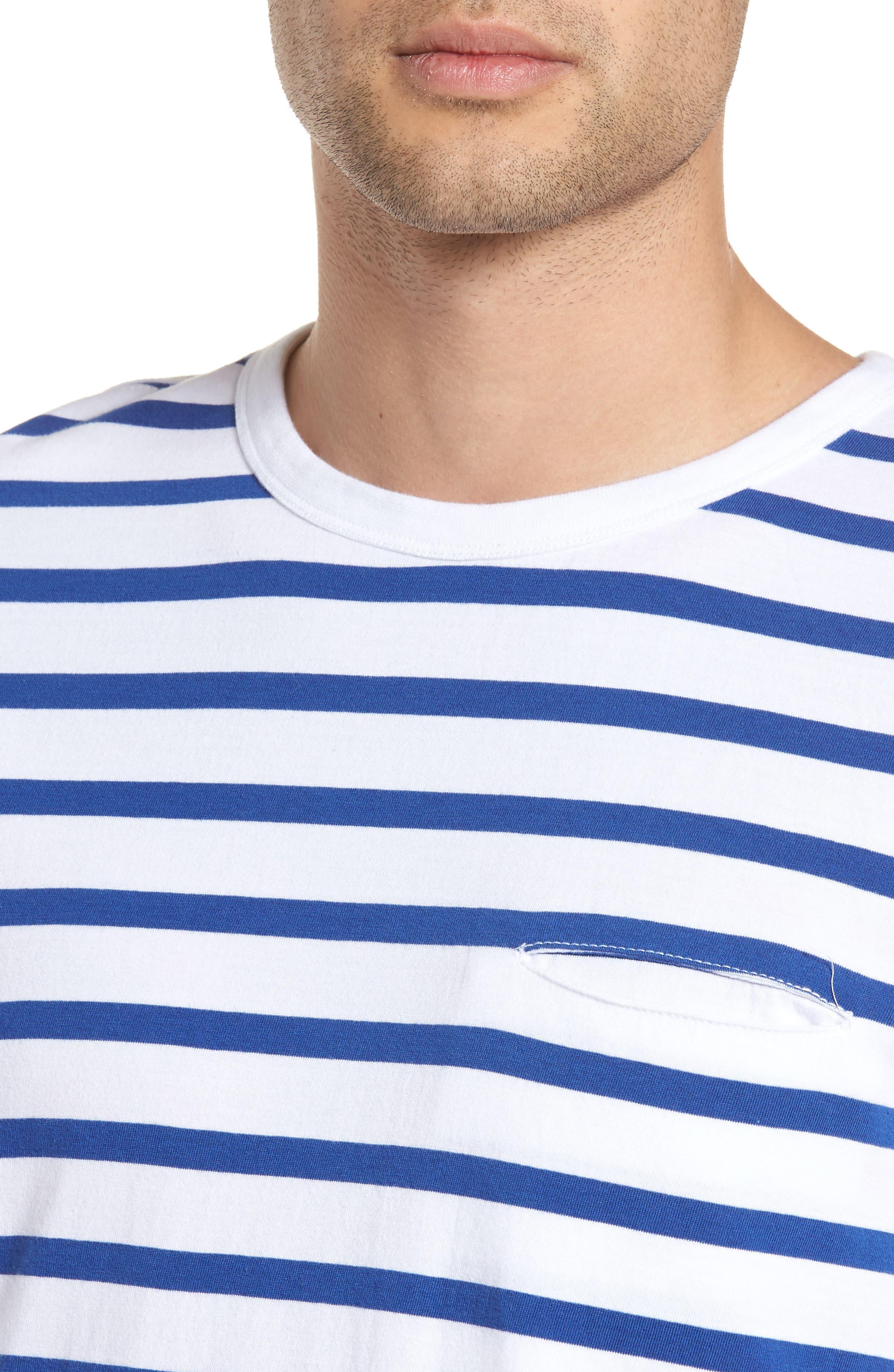 Striped Crewneck T-Shirt,                             Alternate thumbnail 4, color,                             420