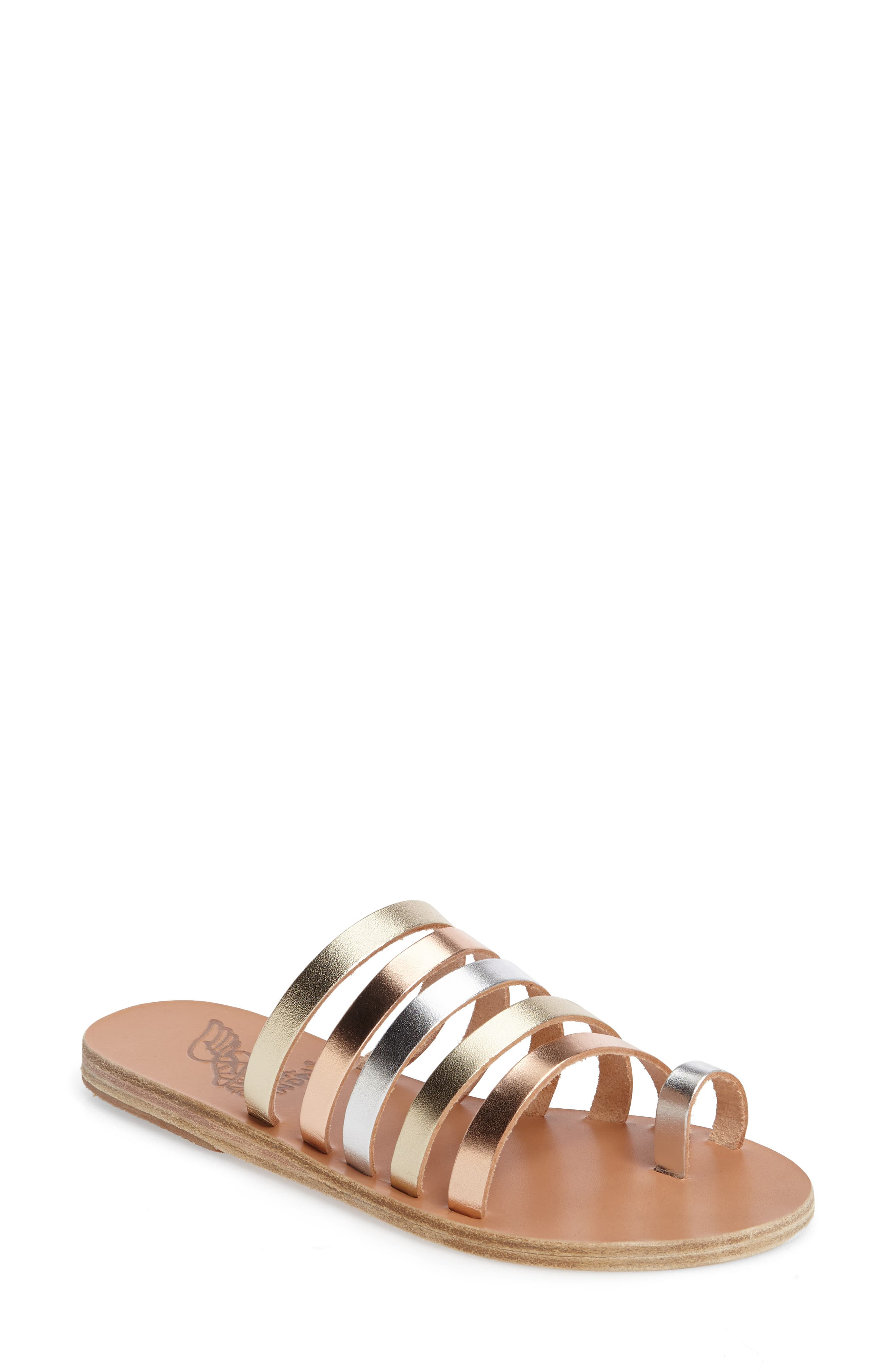 ANCIENT GREEK SANDALS Niki Slide Sandal, Main, color, METALLIC MIX