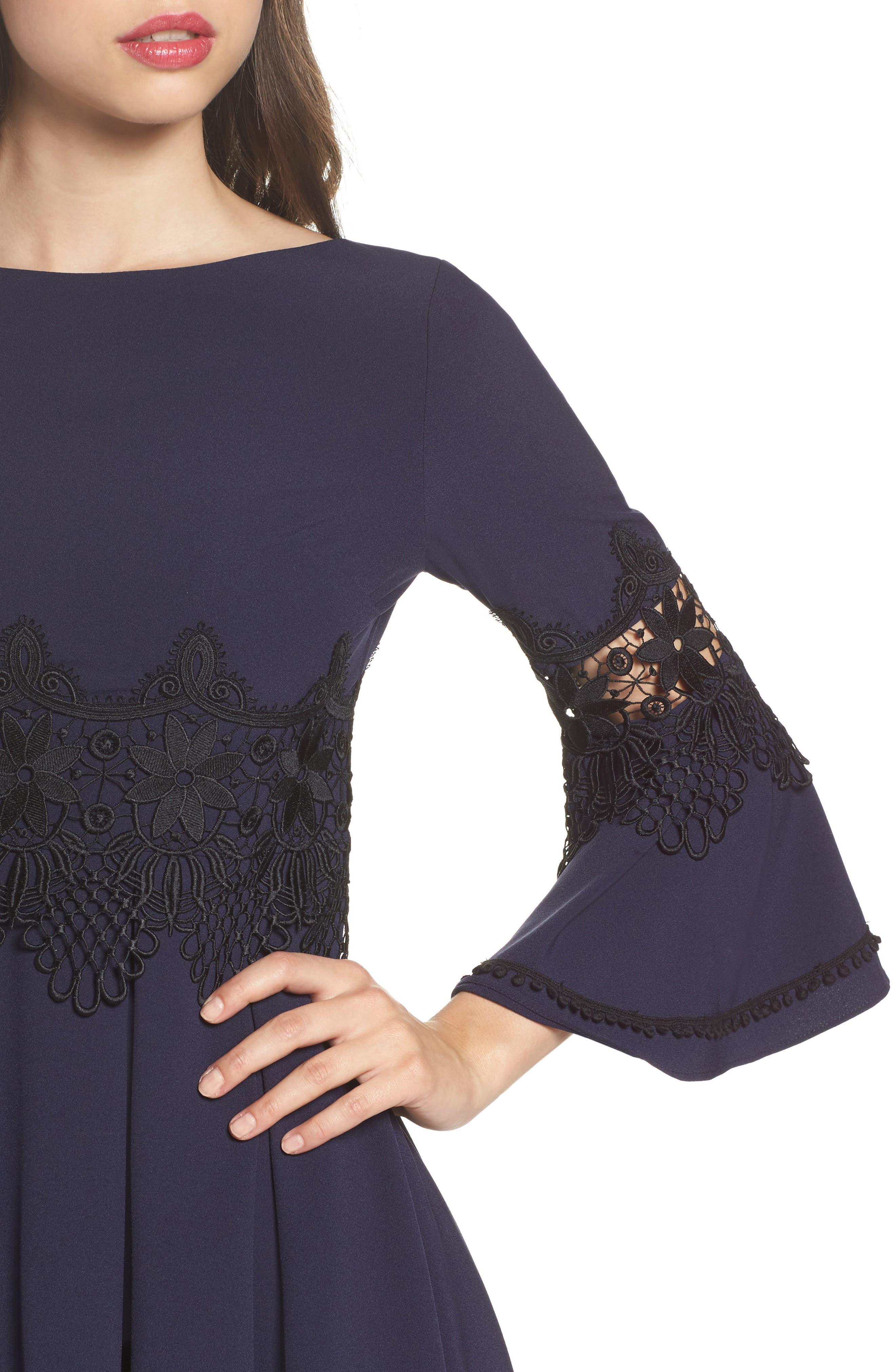 Lace Detail A-Line Dress,                             Alternate thumbnail 4, color,                             488