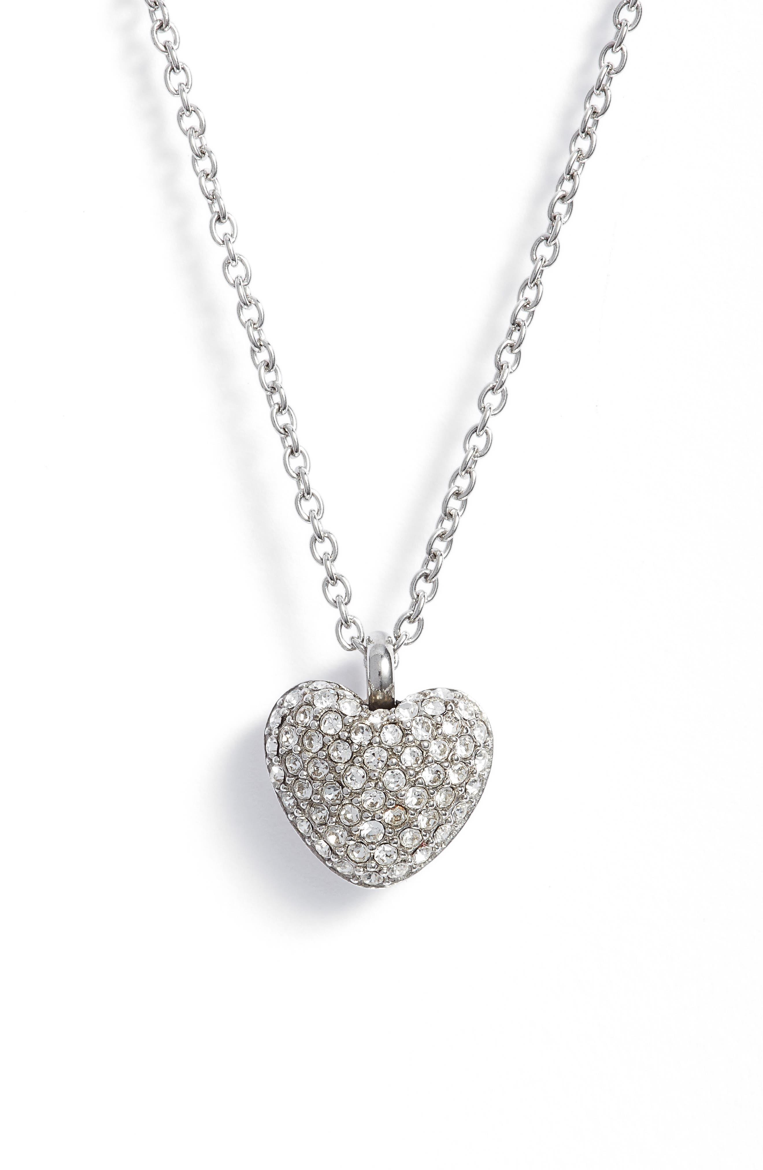 Pavé Heart Pendant Necklace,                             Main thumbnail 1, color,                             040