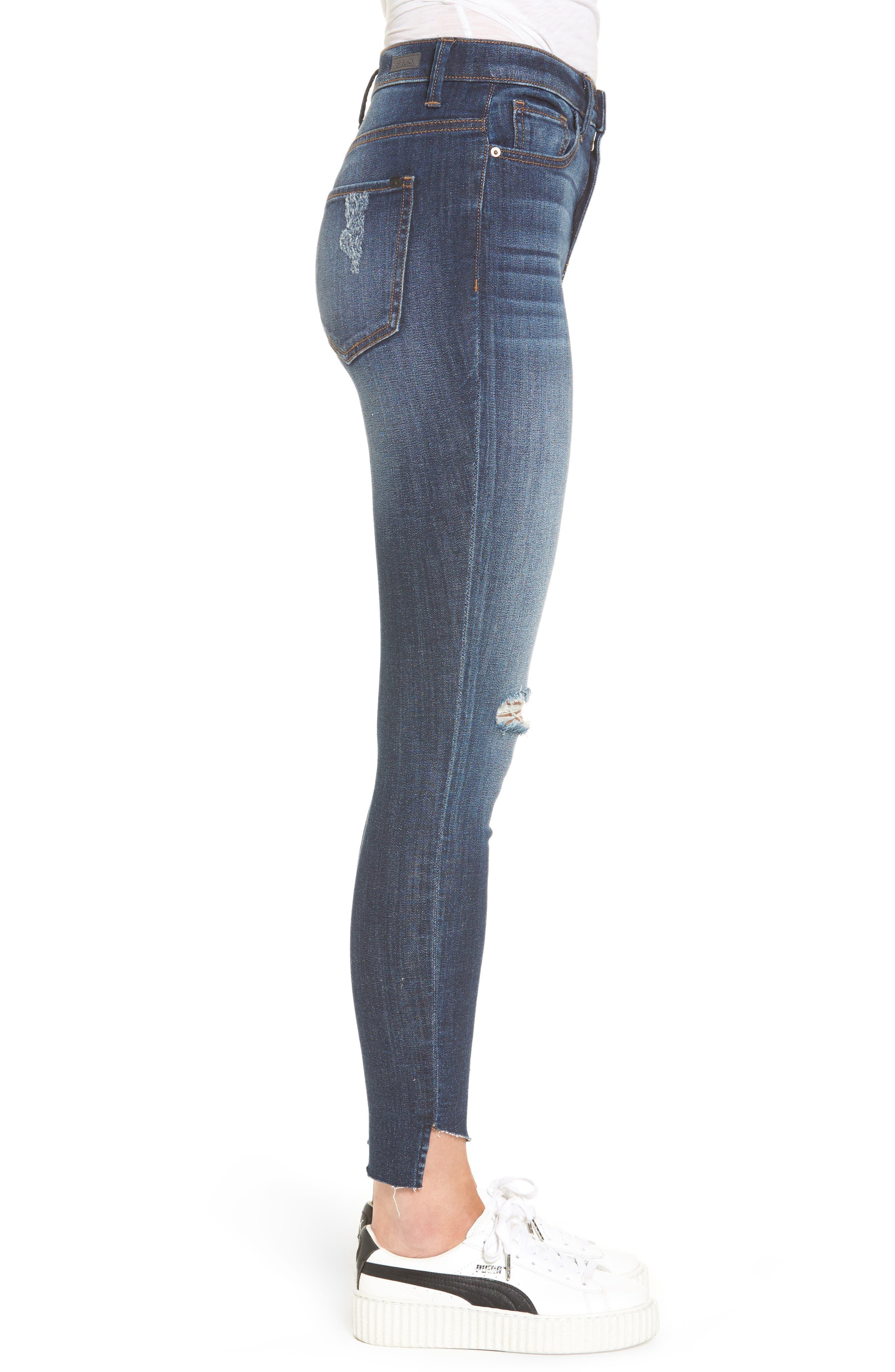 Angled Step Hem High Waist Skinny Jeans,                             Alternate thumbnail 3, color,                             420