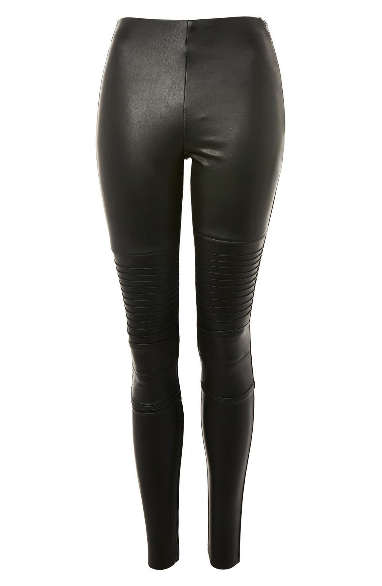 Skinny Faux Leather Biker Pants,                             Alternate thumbnail 3, color,                             001