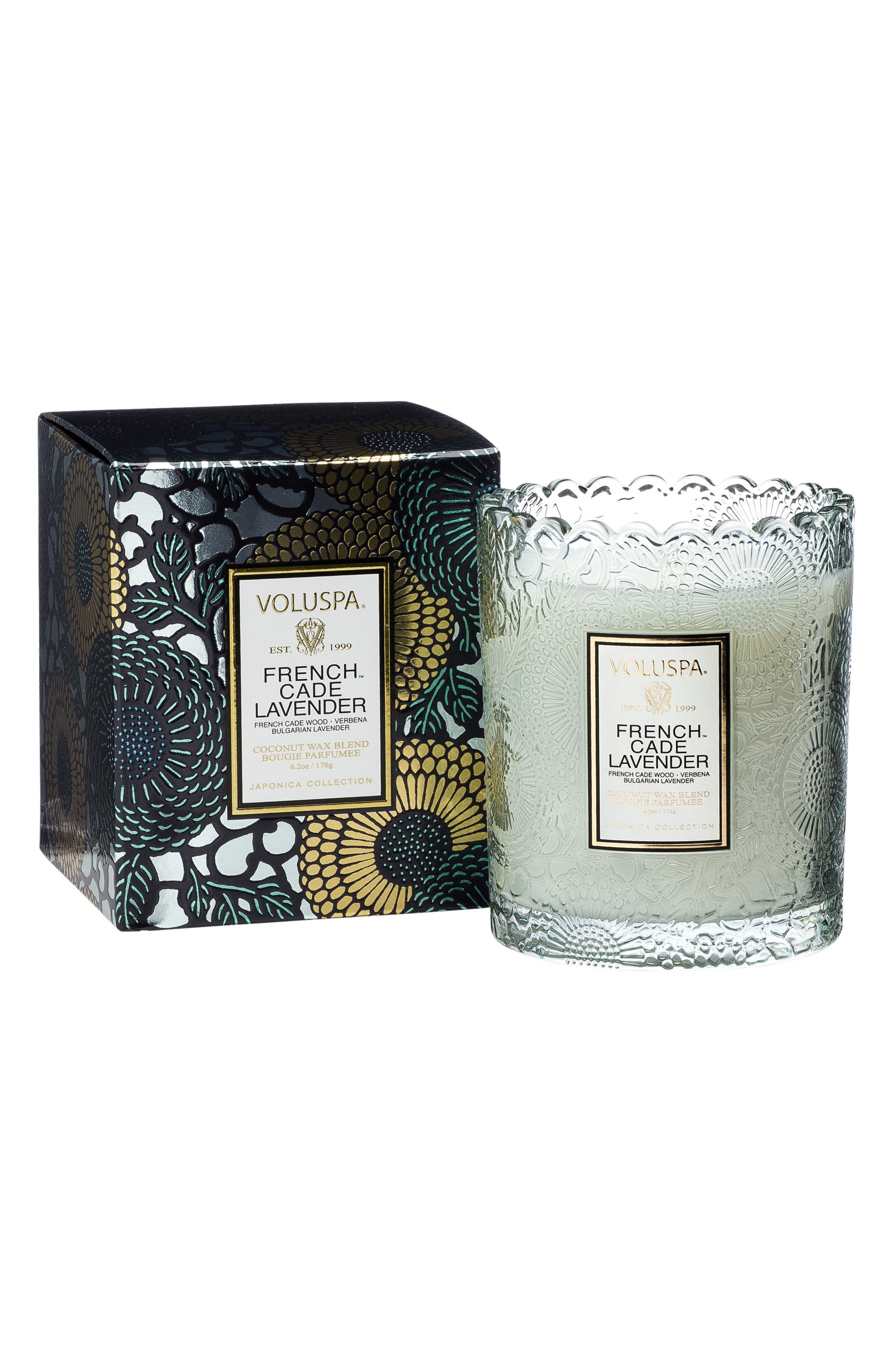 Japonica French Cade Lavender Scalloped Edge Embossed Glass Candle,                         Main,                         color, NO COLOR