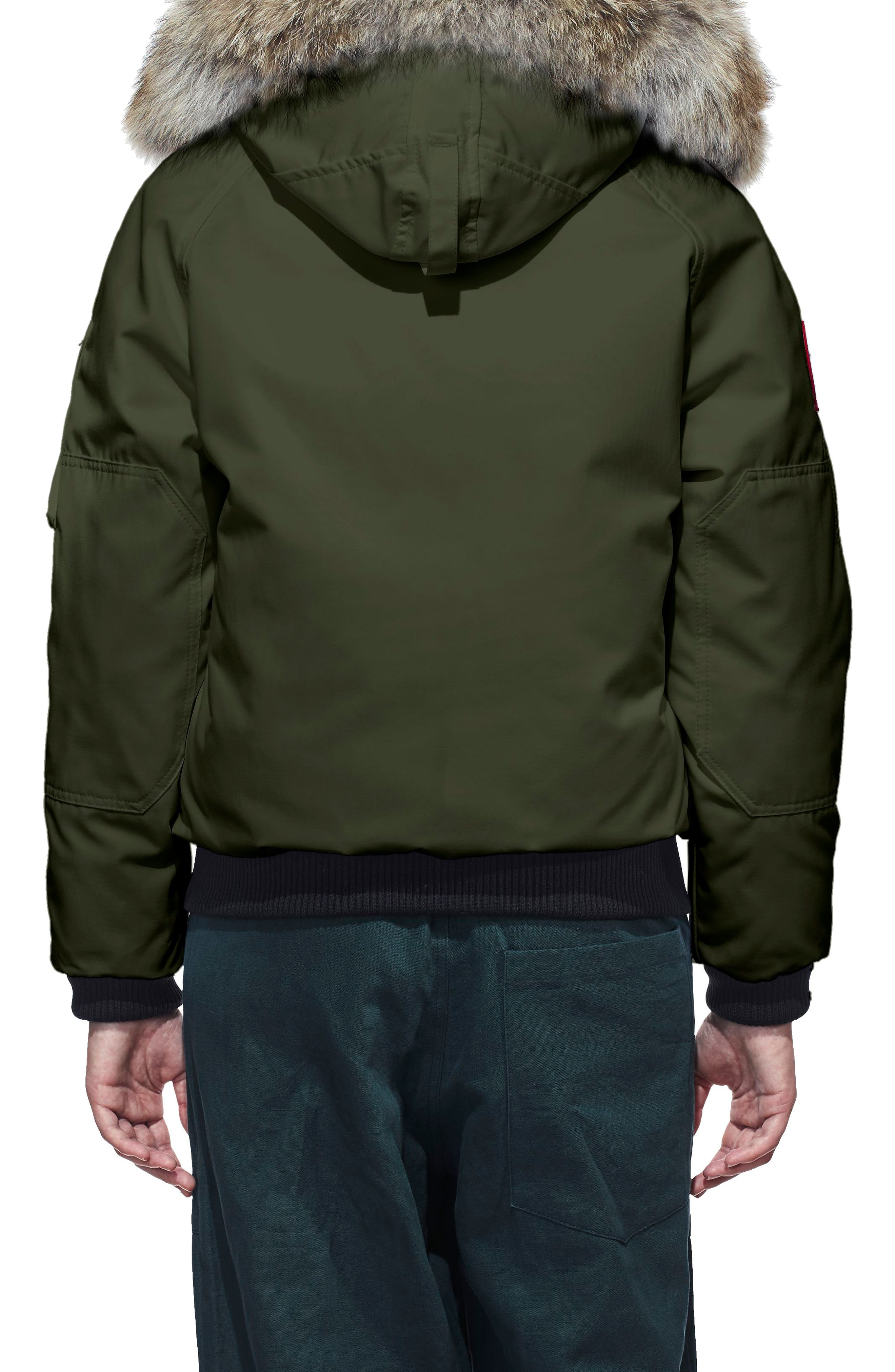 Chilliwack Hooded Down Bomber Jacket with Genuine Coyote Fur Trim,                             Alternate thumbnail 2, color,                             MILITARY GREEN