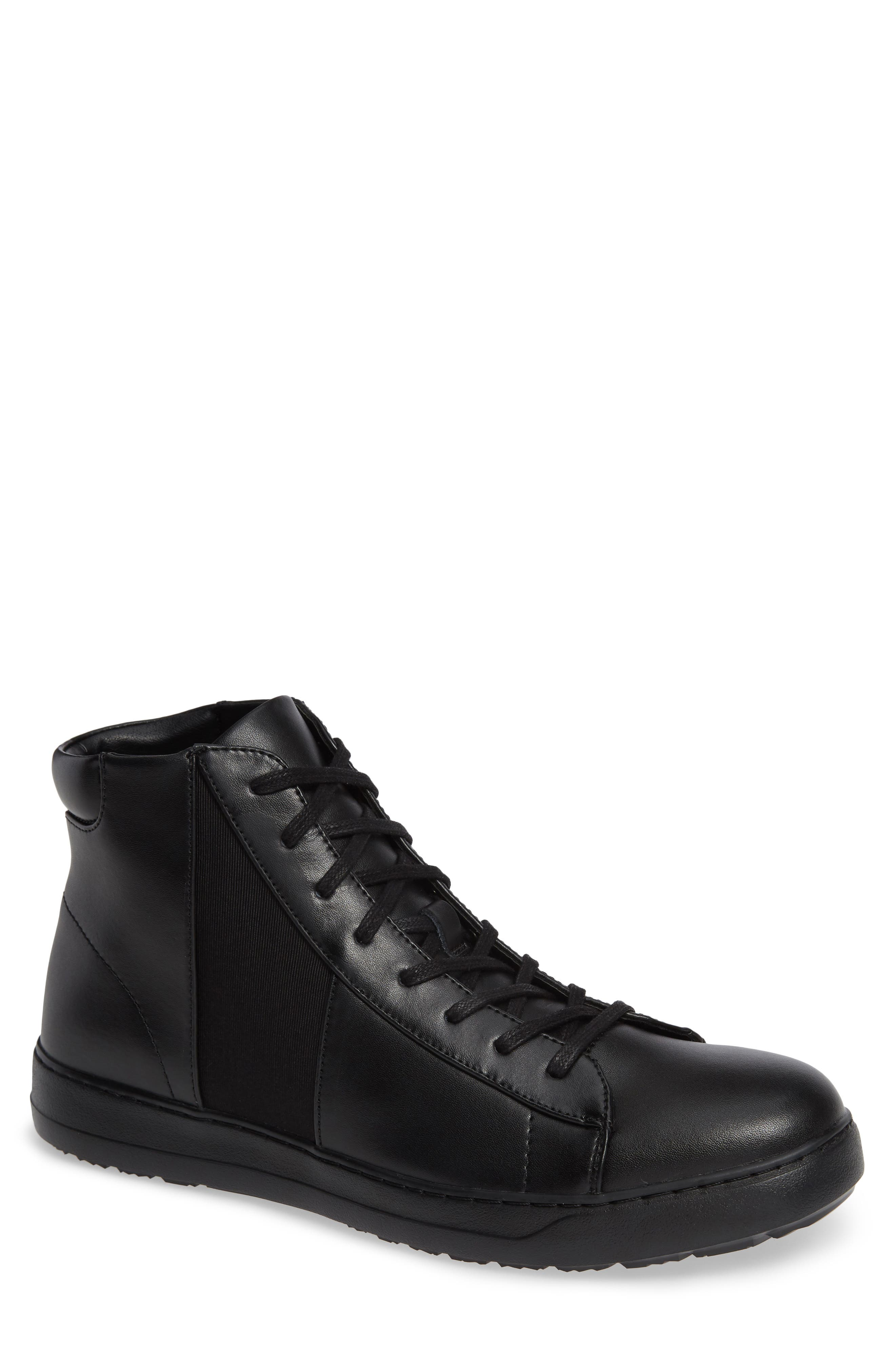 Salvador High Top Sneaker,                             Main thumbnail 1, color,                             BLACK/ BLACK LEATHER