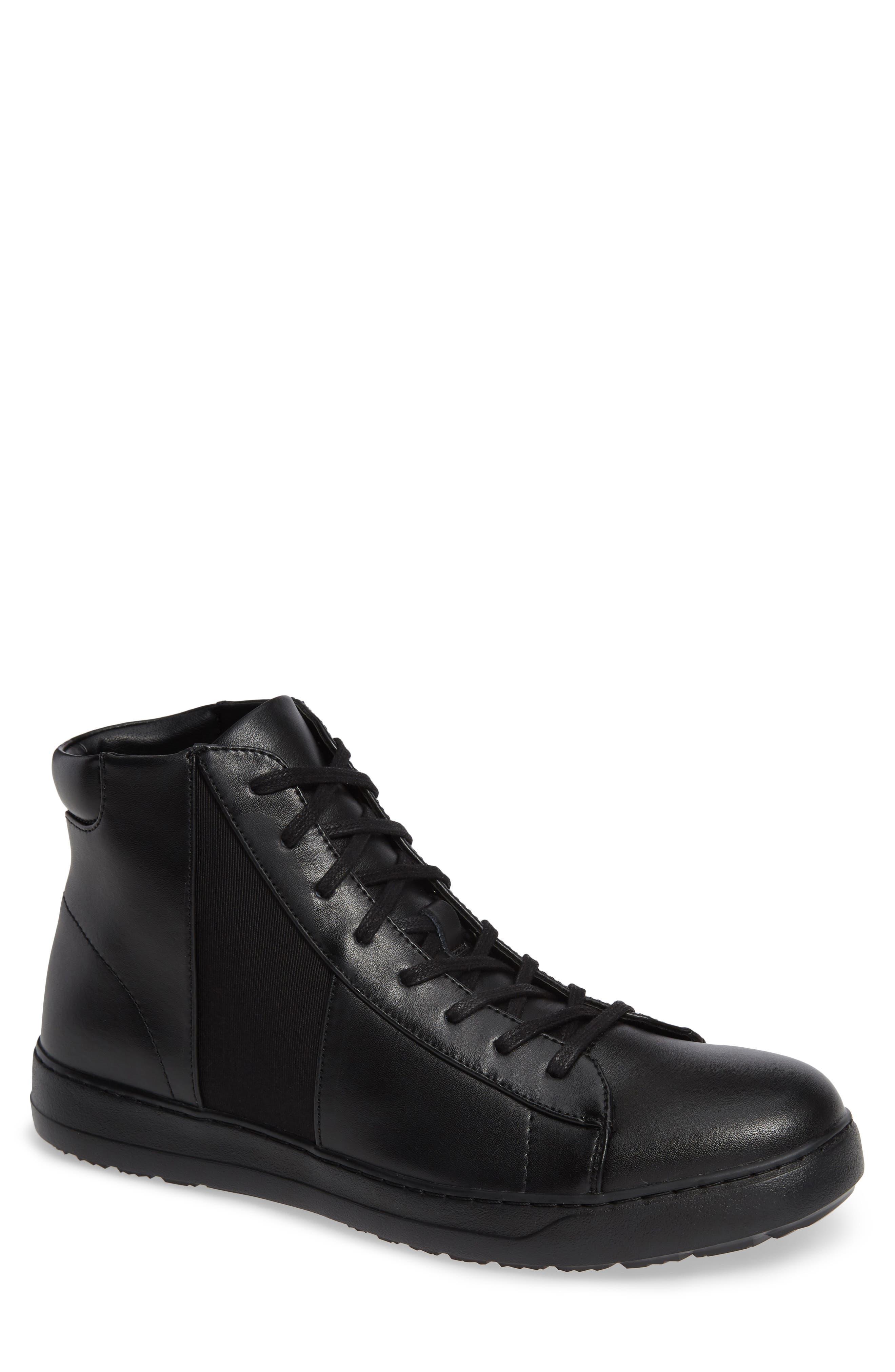 Salvador High Top Sneaker,                         Main,                         color, BLACK/ BLACK LEATHER