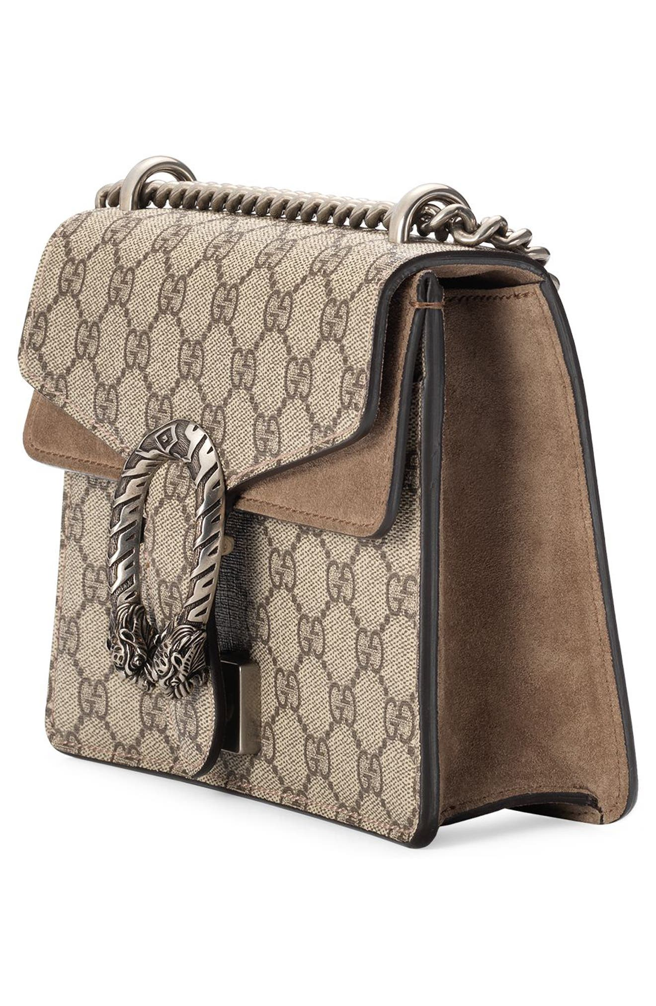 GUCCI,                             Mini Dionysus GG Supreme Shoulder Bag,                             Alternate thumbnail 5, color,                             BEIGE EBONY/ TAUPE