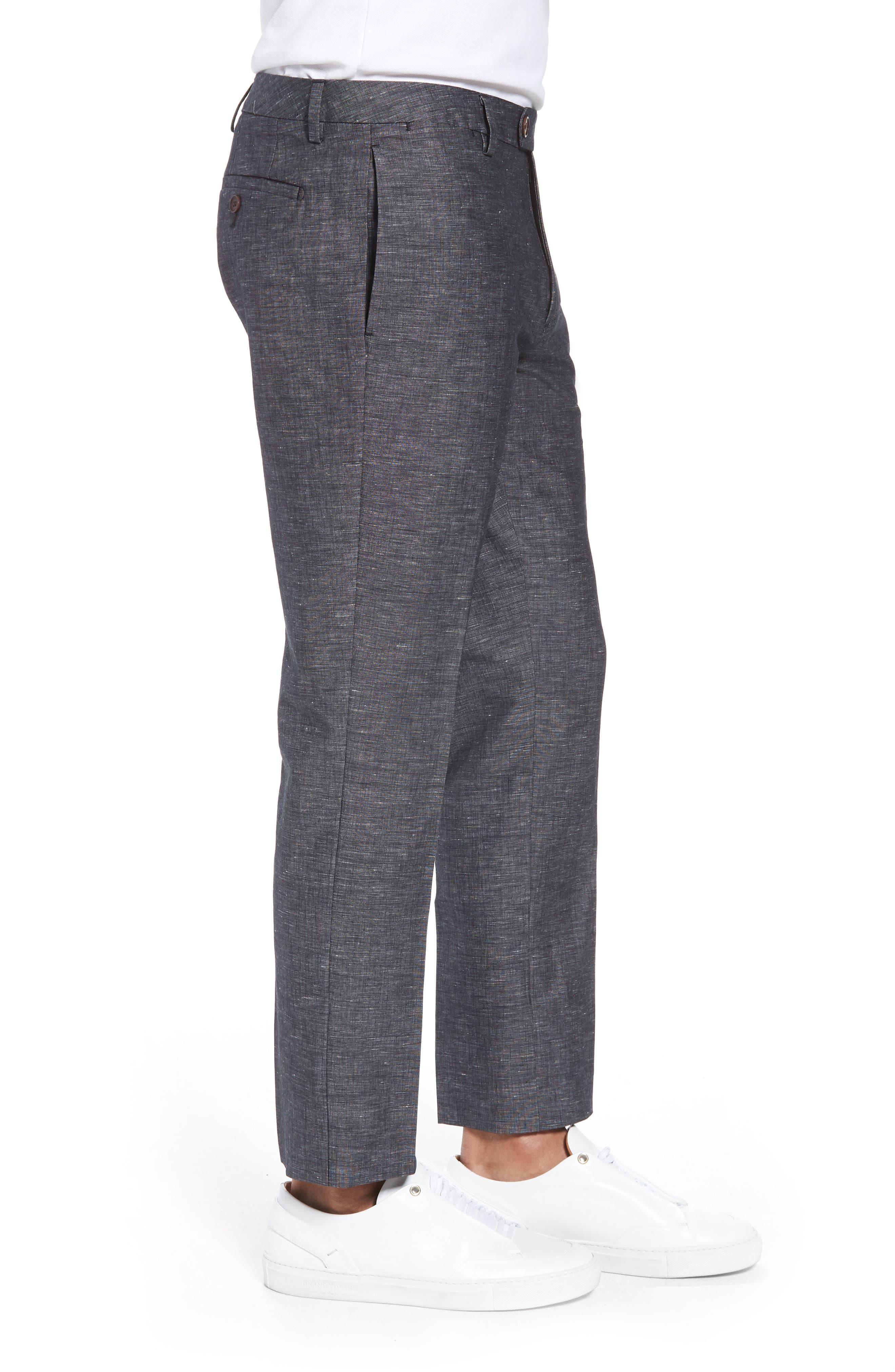 Flat Front Solid Stretch Cotton & Linen Pants,                             Alternate thumbnail 5, color,