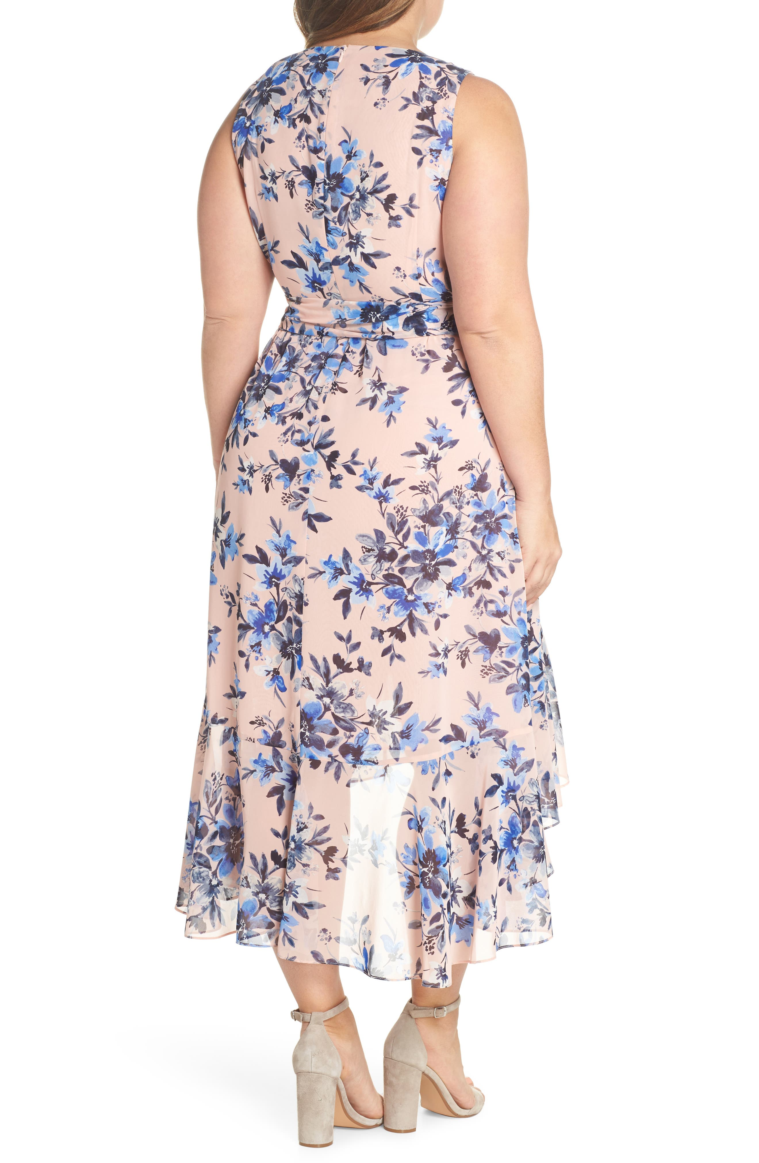 Floral Chiffon High/Low Dress,                             Alternate thumbnail 2, color,