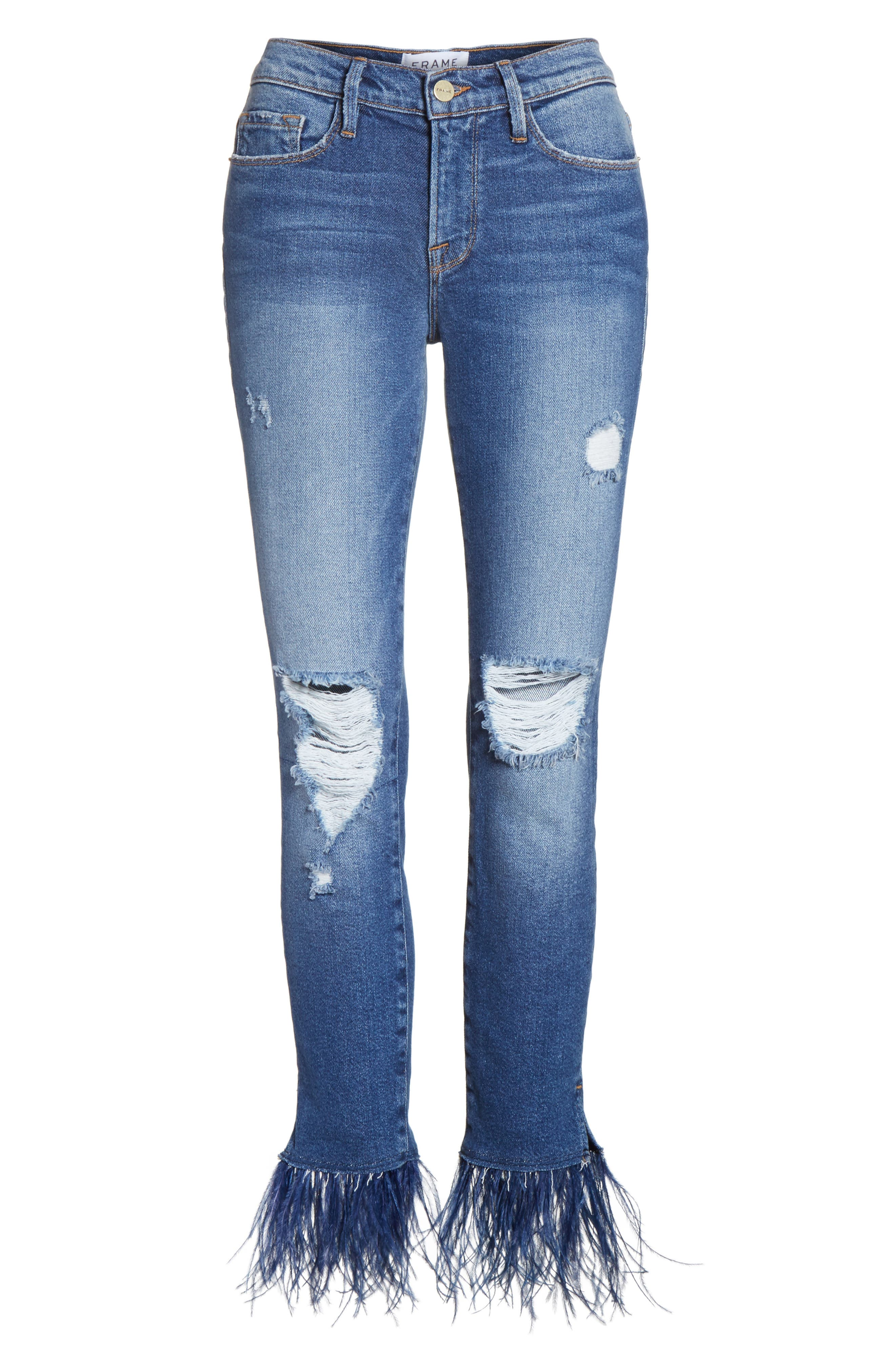 Mid Rise Skinny Feather Embellished Jeans,                             Alternate thumbnail 6, color,                             420