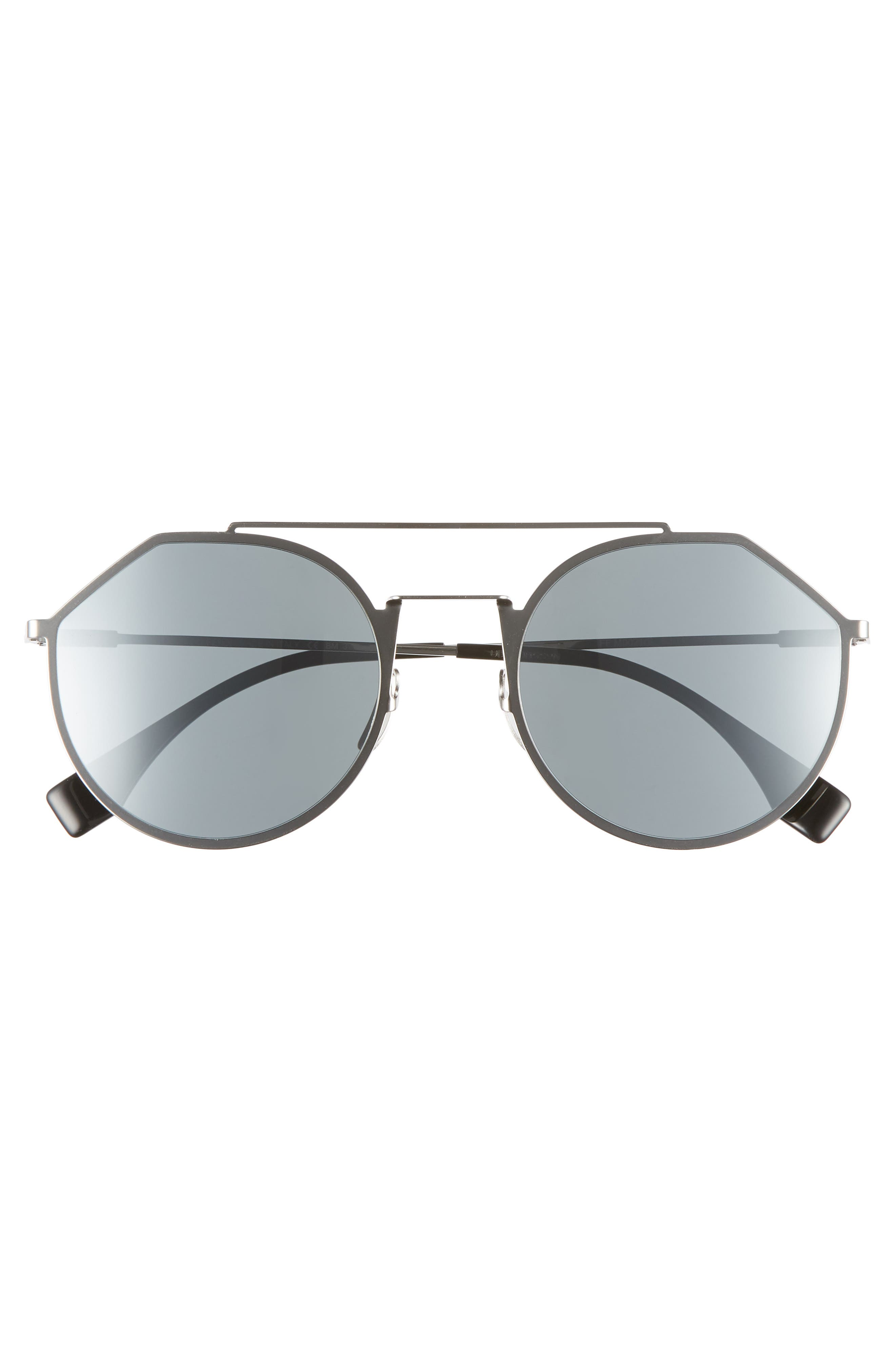 54mm Round Sunglasses,                             Alternate thumbnail 3, color,                             RUTHENIUM