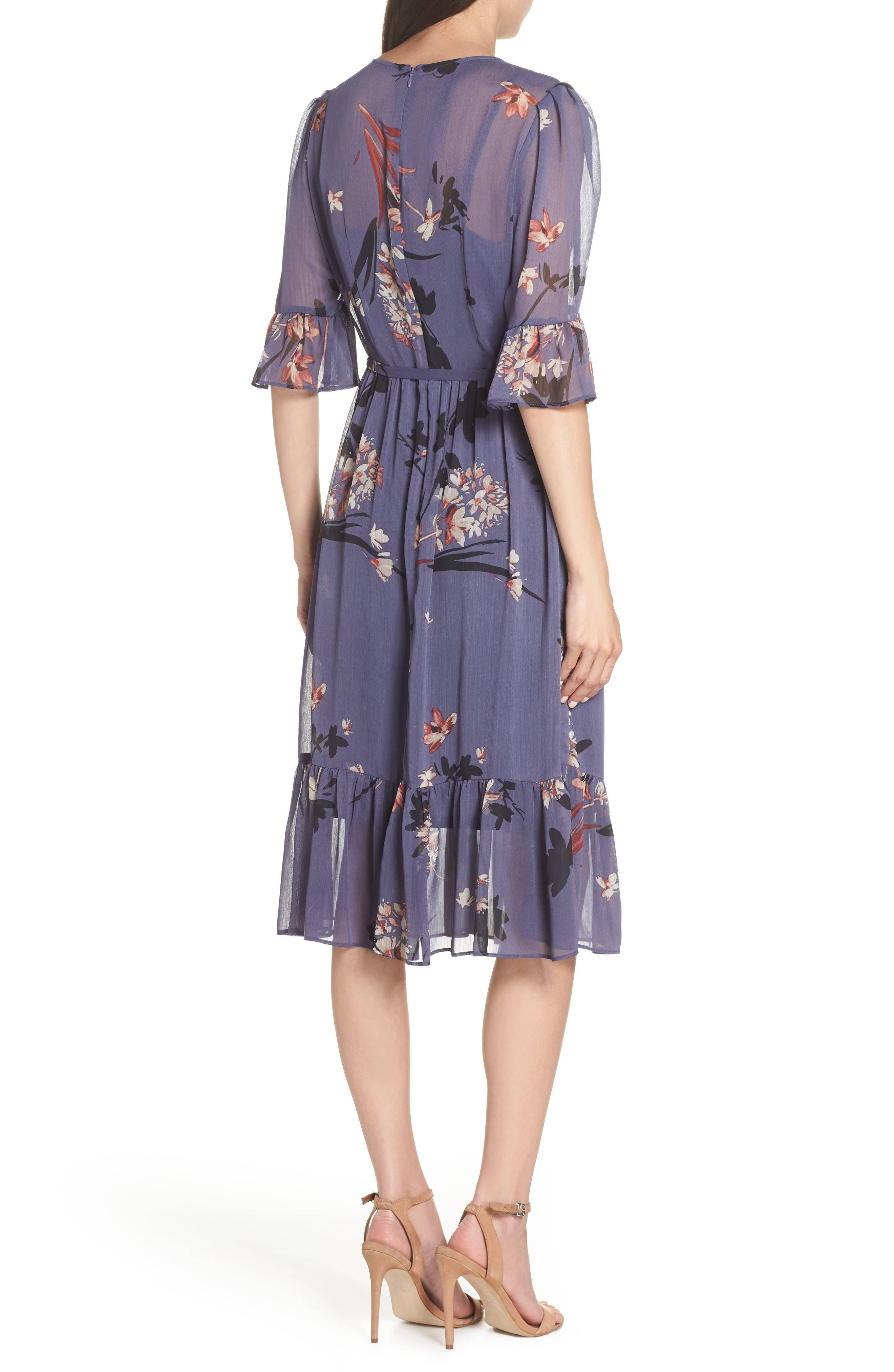 Floral Chiffon Midi Dress,                             Alternate thumbnail 2, color,                             BLUE MULTI