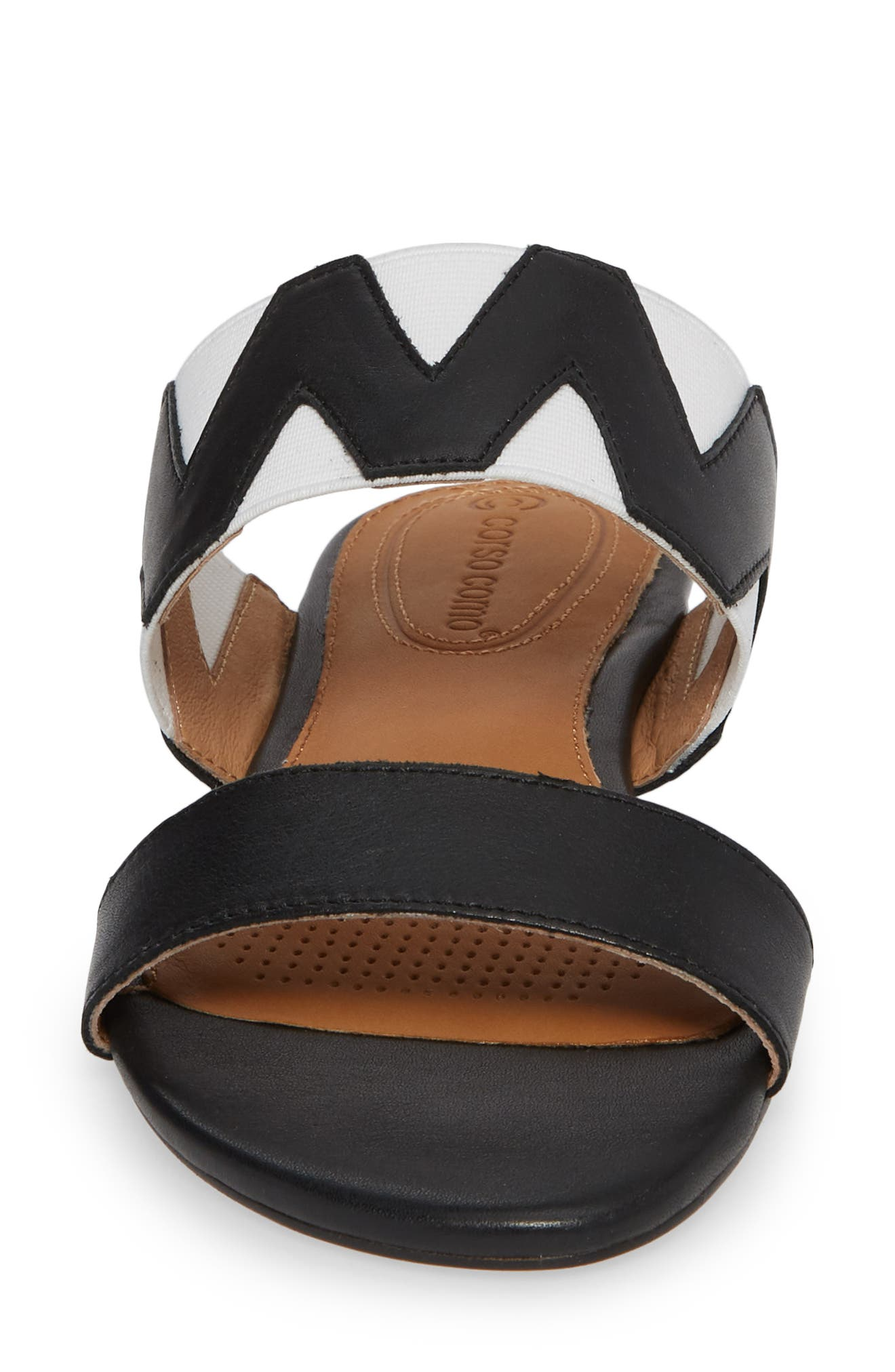 Vickee Double Band Sandal,                             Alternate thumbnail 4, color,                             BLACK/ WHITE LEATHER