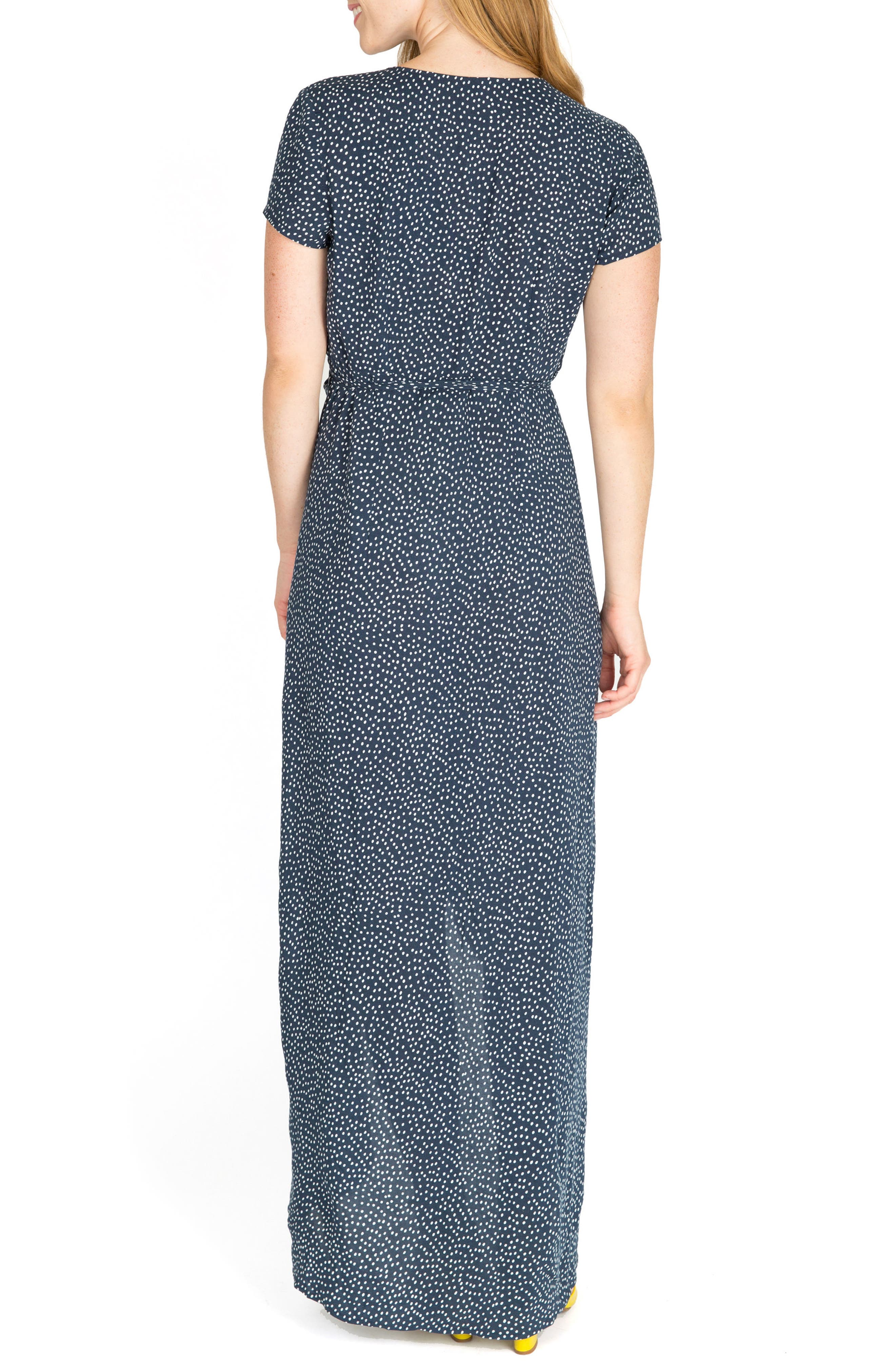 Delilah Maternity/Nursing Wrap Maxi Dress,                             Alternate thumbnail 2, color,                             NAVY DOT