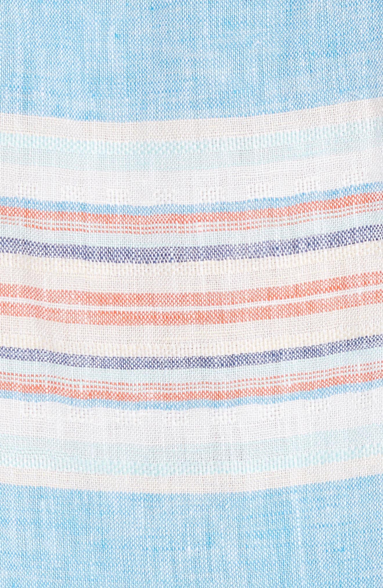 Serape Stripe Linen Sport Shirt,                             Alternate thumbnail 5, color,                             BLUE ASTER