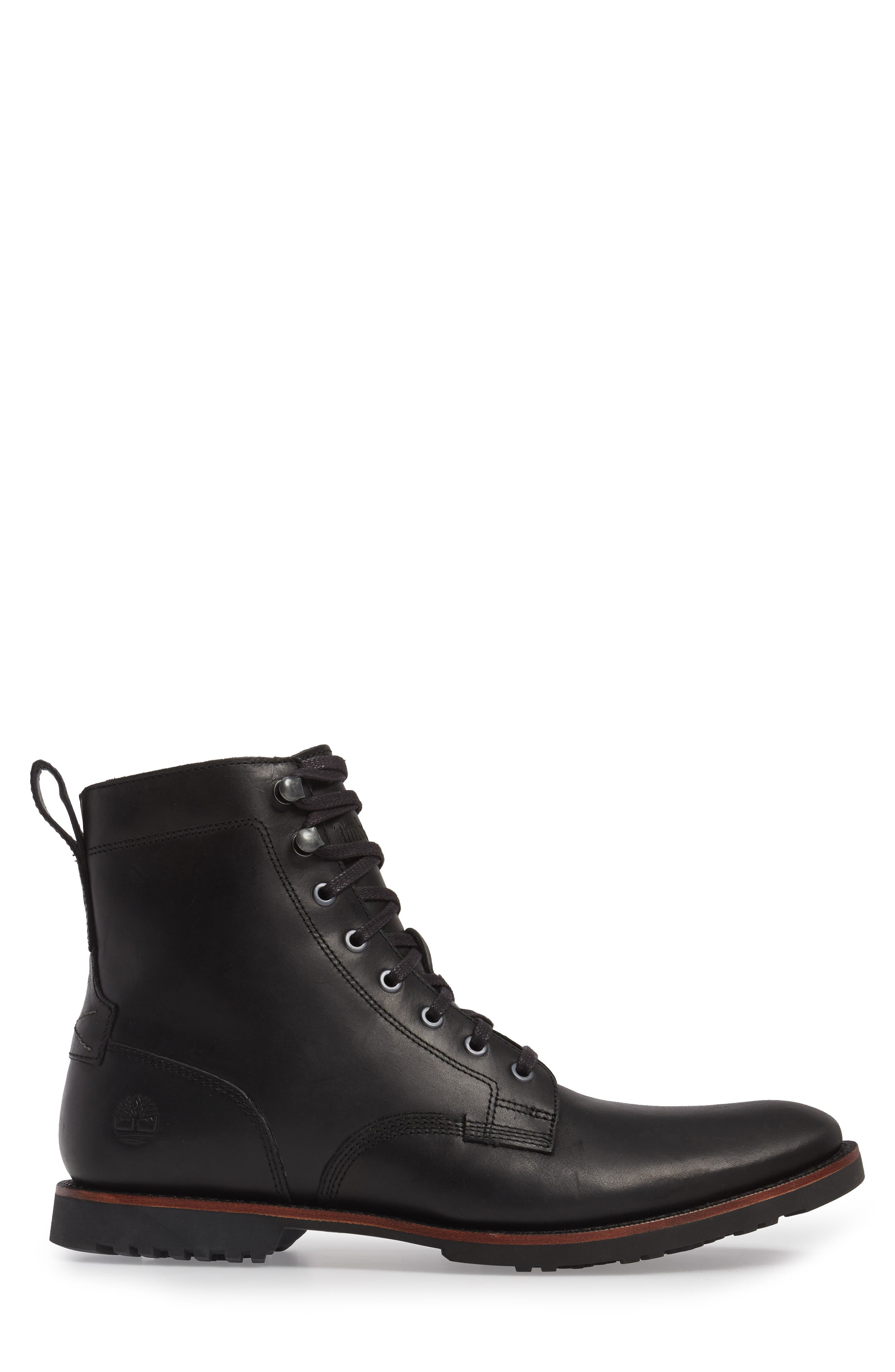 Kendrick Side Zip Leather Boot,                             Alternate thumbnail 3, color,                             001