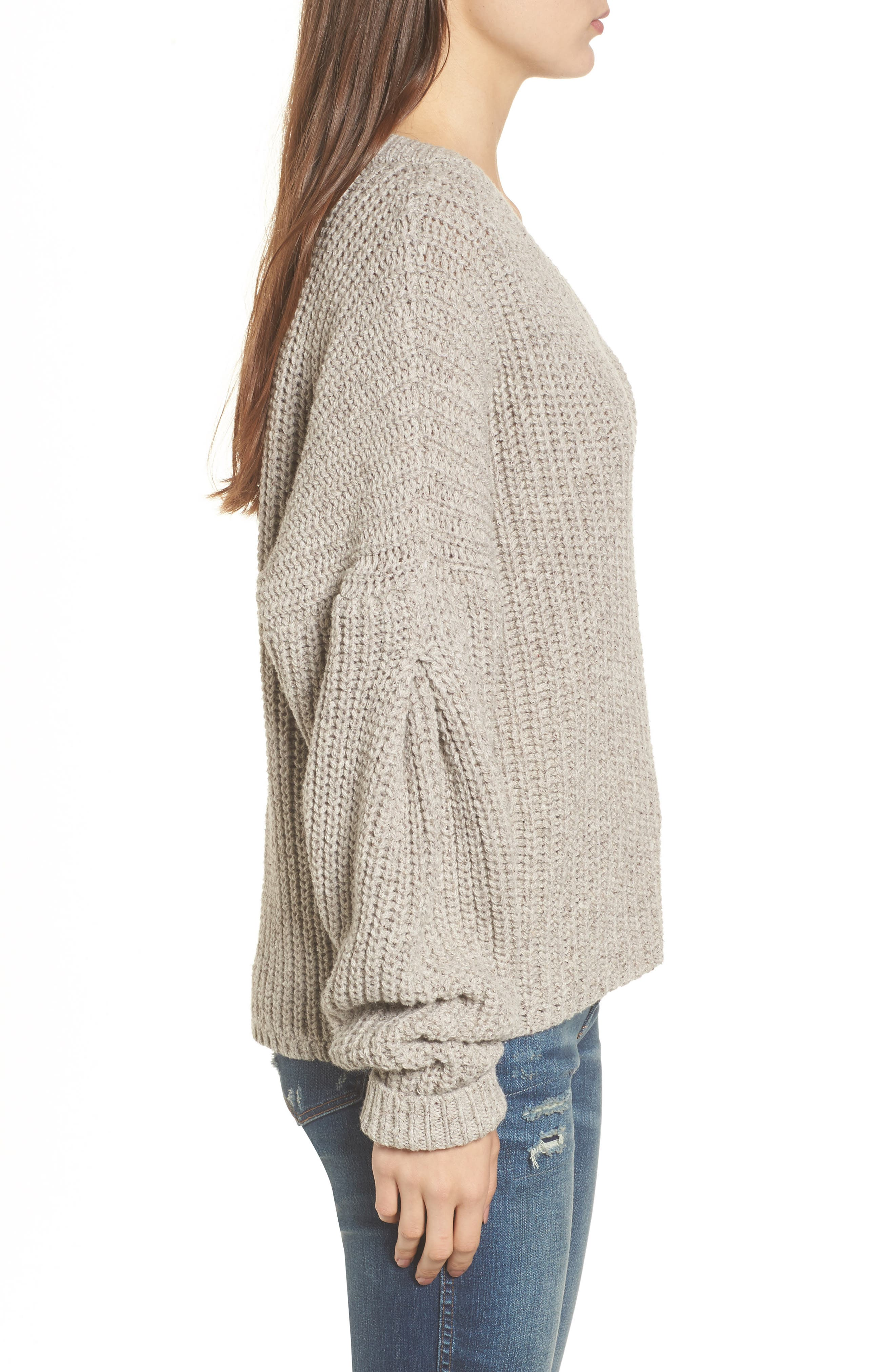 Pleat Sleeve Pullover Sweater,                             Alternate thumbnail 5, color,