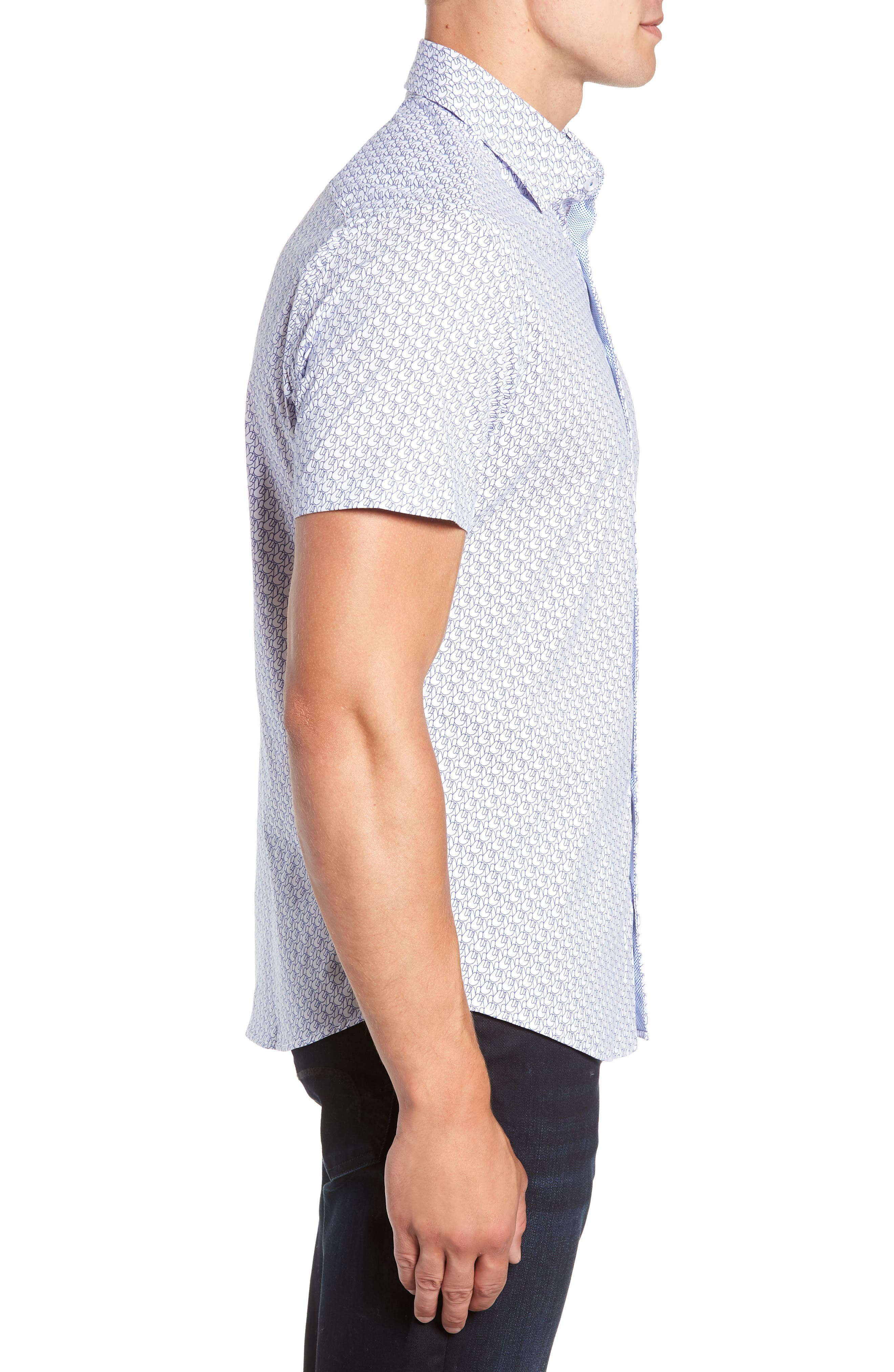 Peace Sign Regular Fit Sport Shirt,                             Alternate thumbnail 4, color,                             100