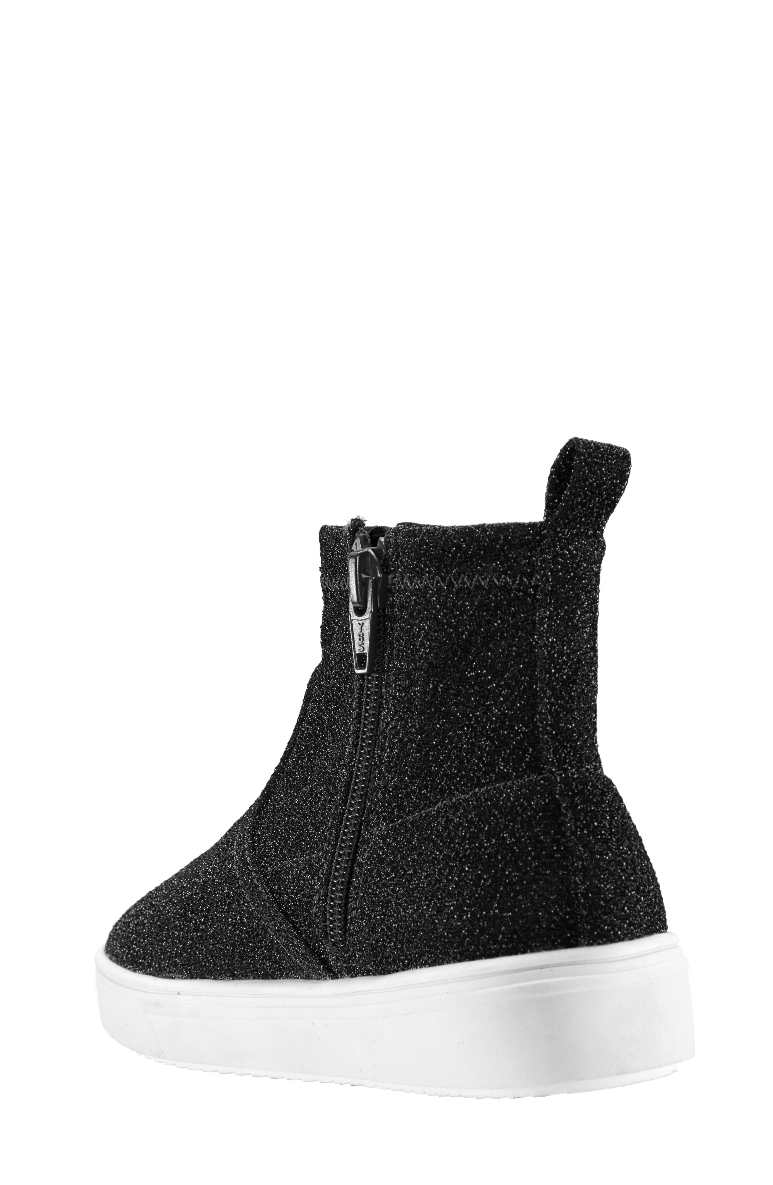 Isha Sparkle High Top Sneaker,                             Alternate thumbnail 2, color,                             BLACK STRETCH SPARKLE