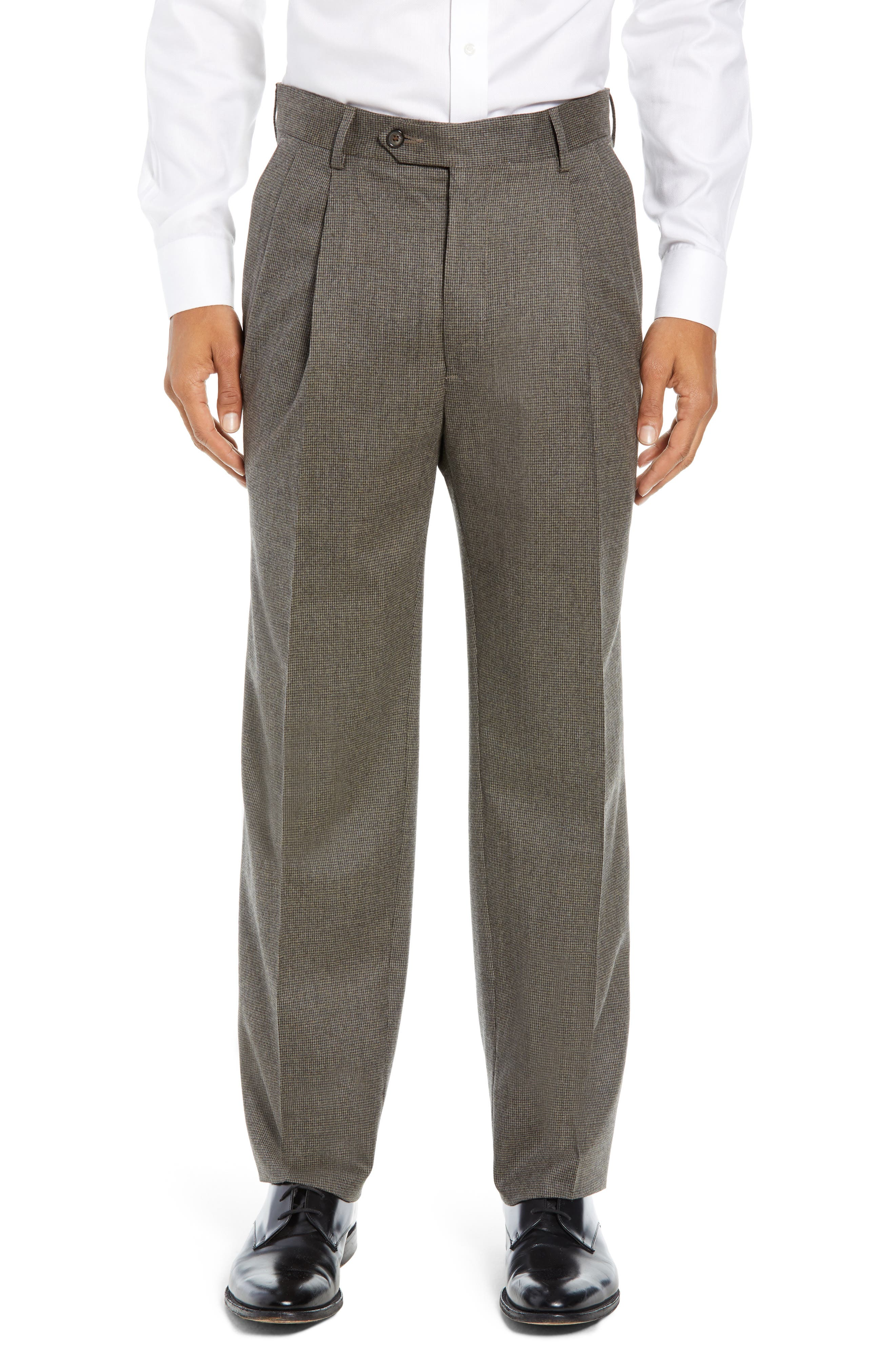 Pleated Stretch Houndstooth Wool Trousers,                         Main,                         color, TAN