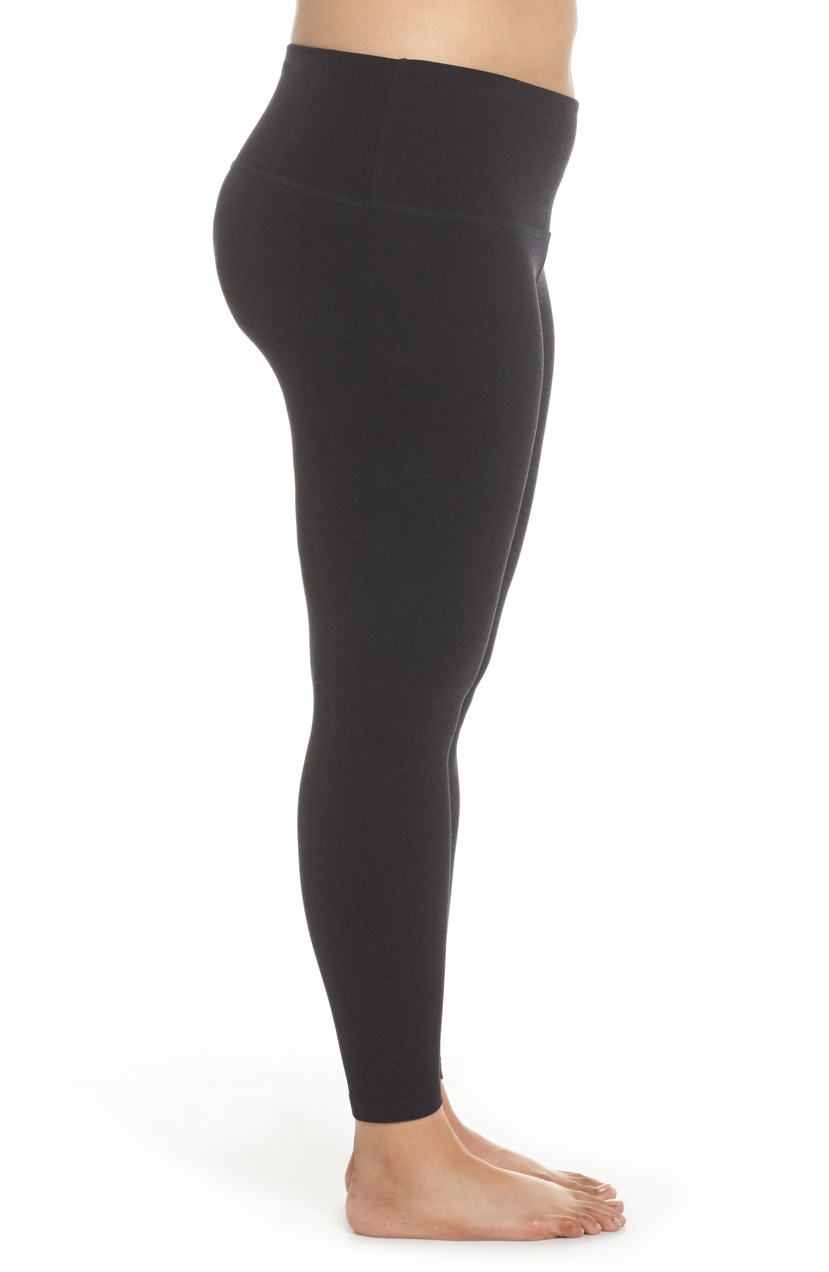 High Waist Midi Leggings,                             Alternate thumbnail 3, color,                             DARKEST NIGHT