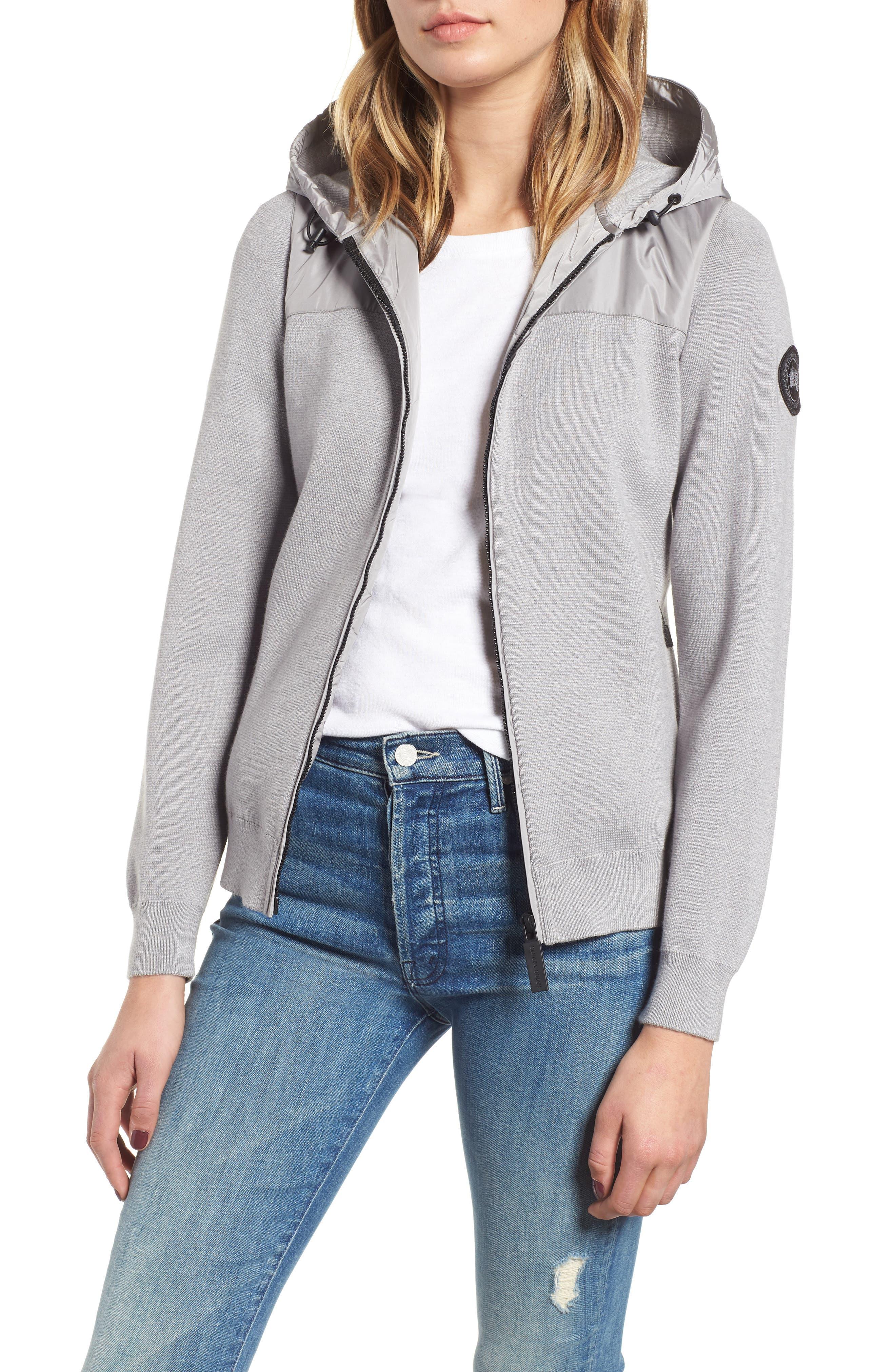 CANADA GOOSE Windbridge Wool & Nylon Hoodie Jacket in Silver Ore