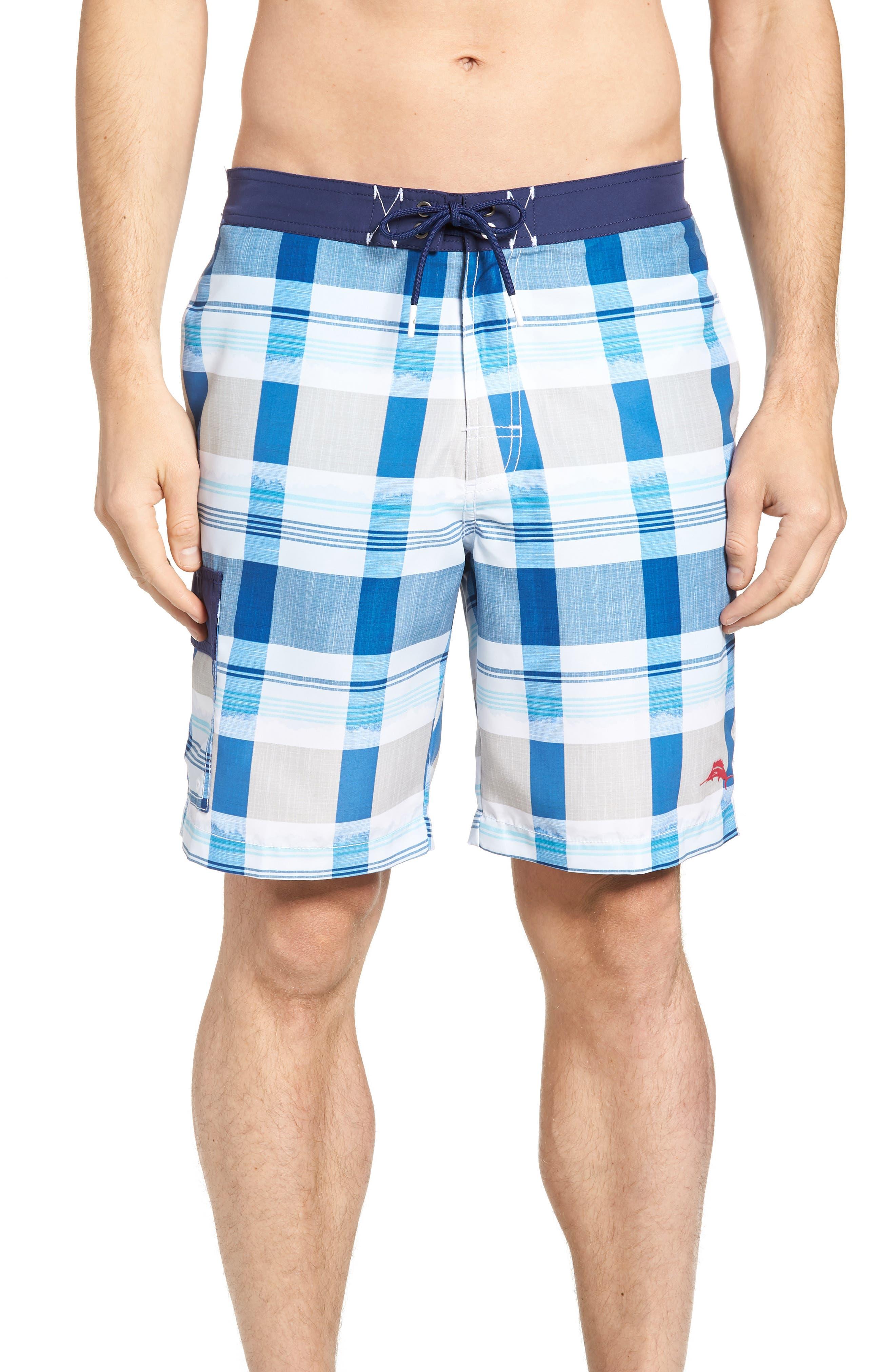 Baja Pomona Plaid Board Shorts,                         Main,                         color, 400