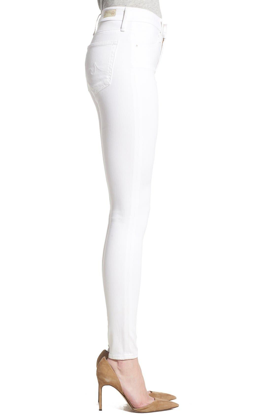 Farrah High Waist Skinny Jeans,                             Alternate thumbnail 3, color,                             WHITE