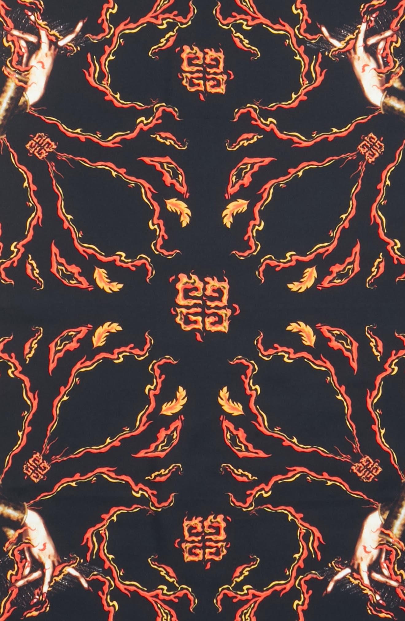 Virgo Silk Scarf,                             Alternate thumbnail 4, color,                             BLACK/ RED