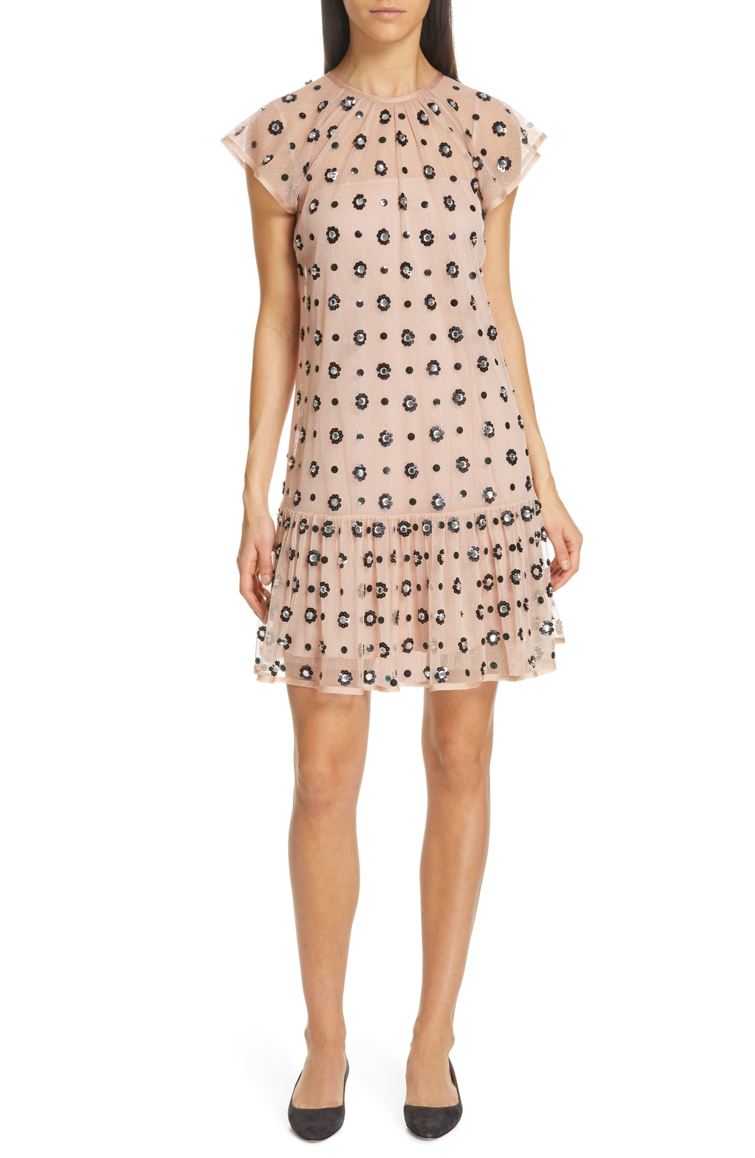 RED VALENTINO,                             Floral Sequin Drop Waist Dress,                             Main thumbnail 1, color,                             NUDO