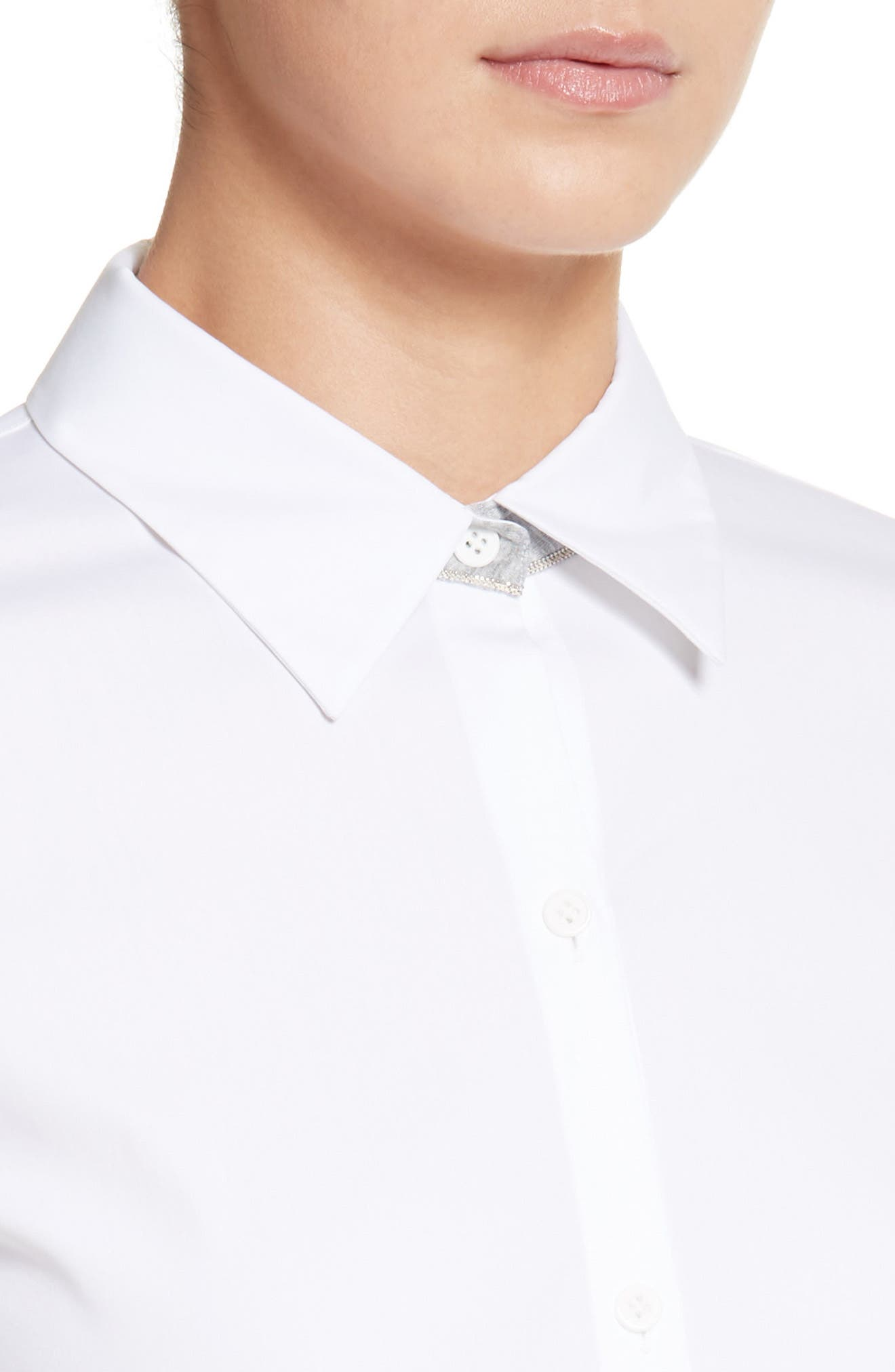 LAFAYETTE 148 NEW YORK,                             Linley Stretch Cotton Blouse,                             Alternate thumbnail 4, color,                             WHITE