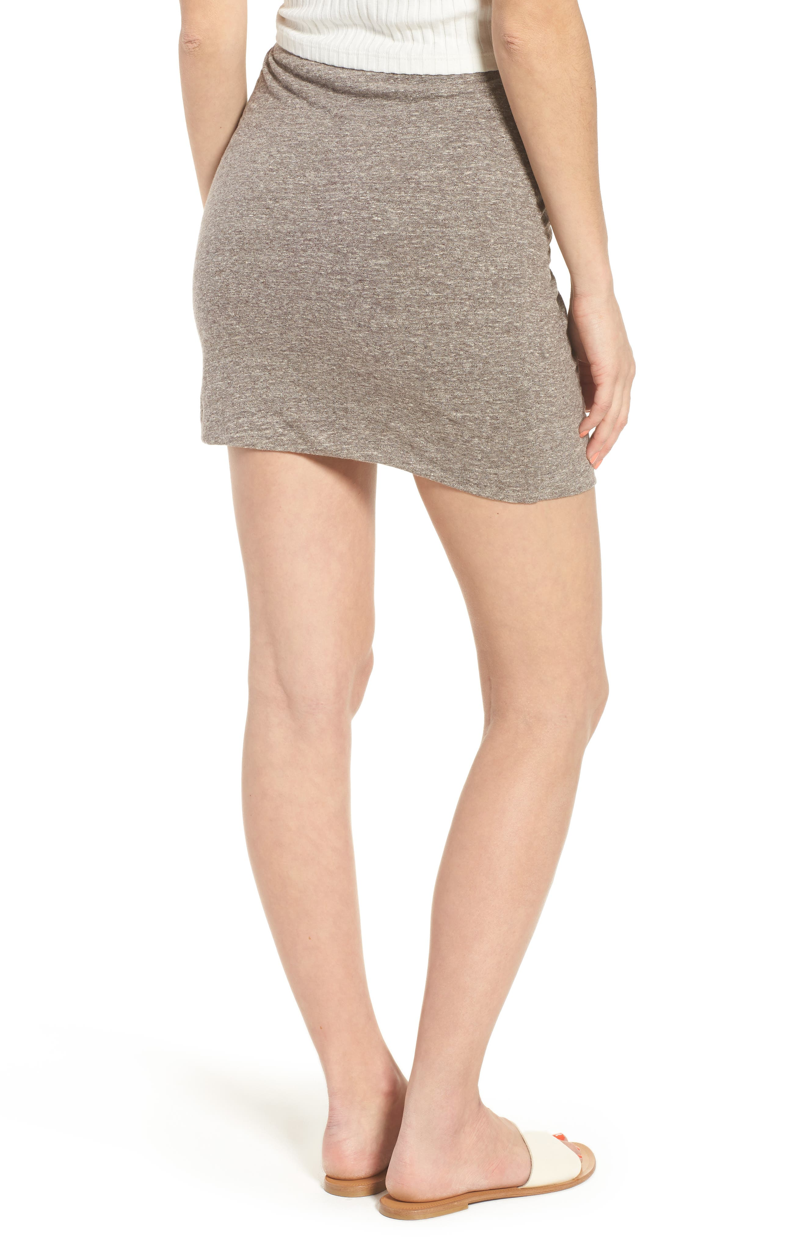 Knot Front Skirt,                             Alternate thumbnail 2, color,                             GREY MEDIUM HEATHER