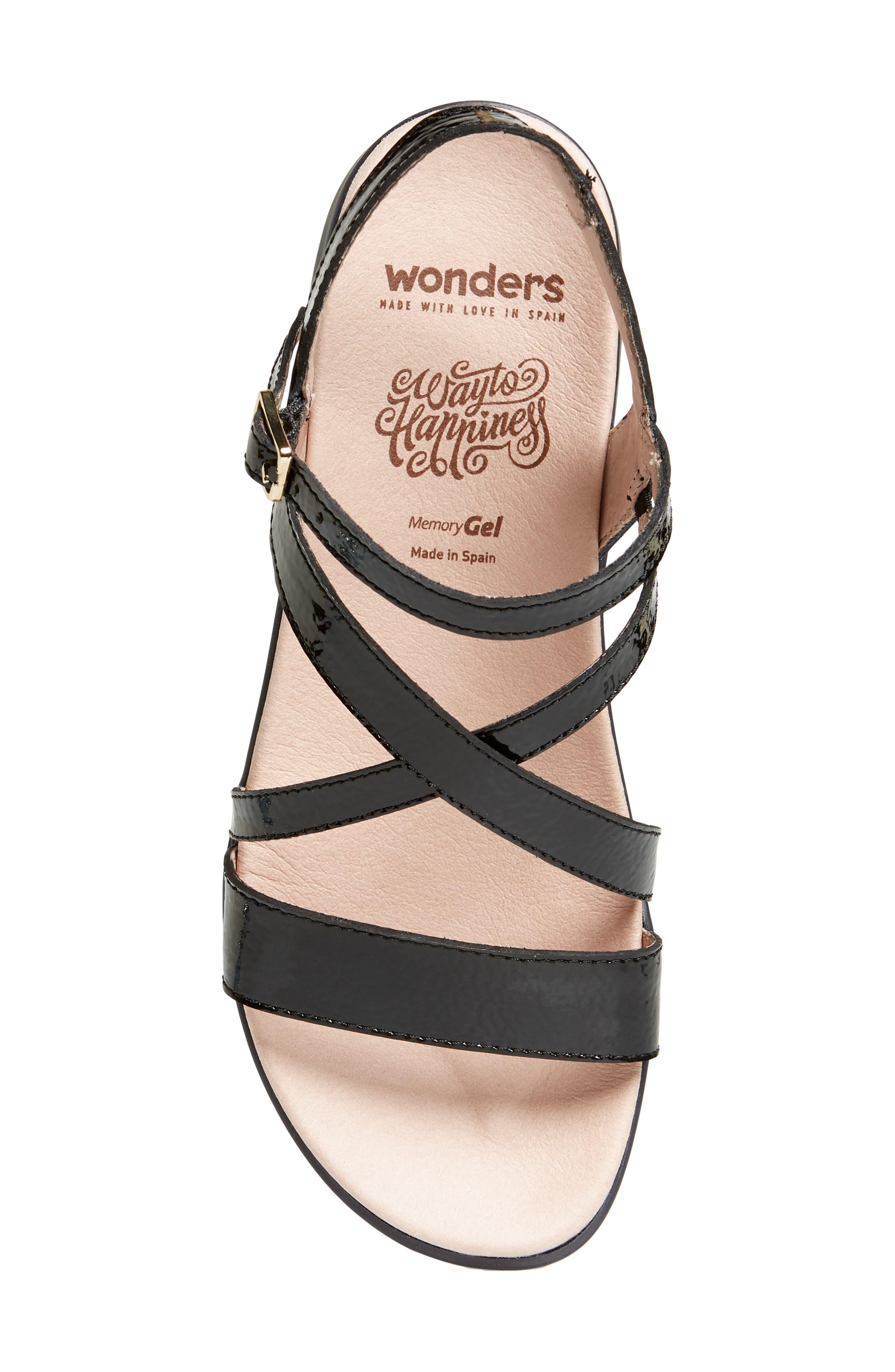 Wedge Sandal,                             Alternate thumbnail 5, color,                             BLACK PATENT LEATHER