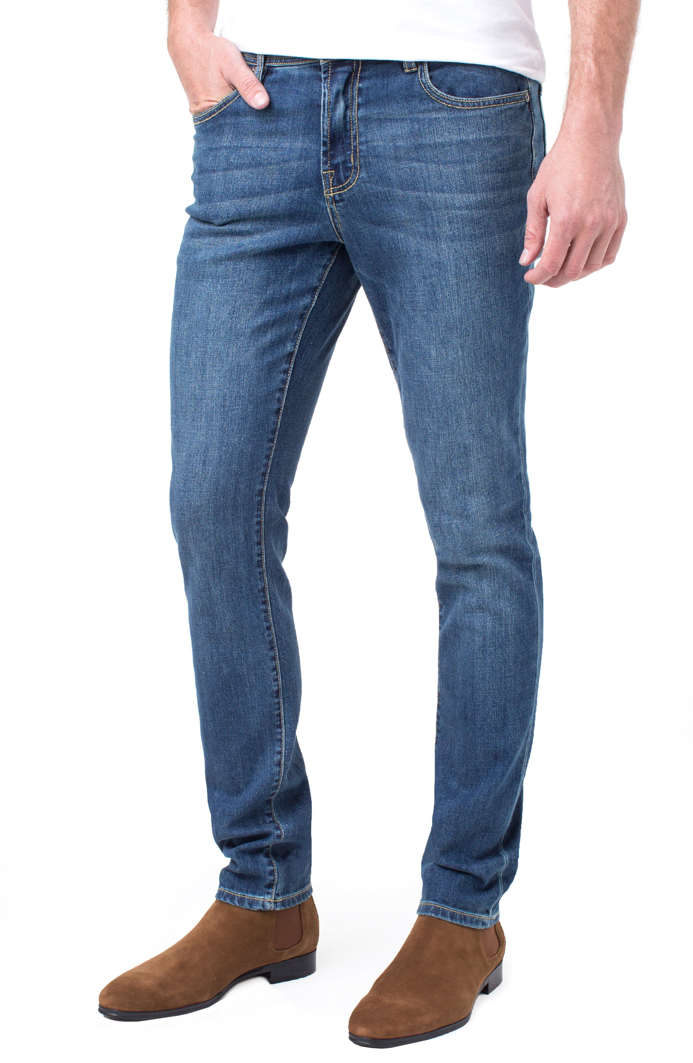 Kingston Slim Straight Leg Jeans,                             Alternate thumbnail 3, color,                             MARINA DARK