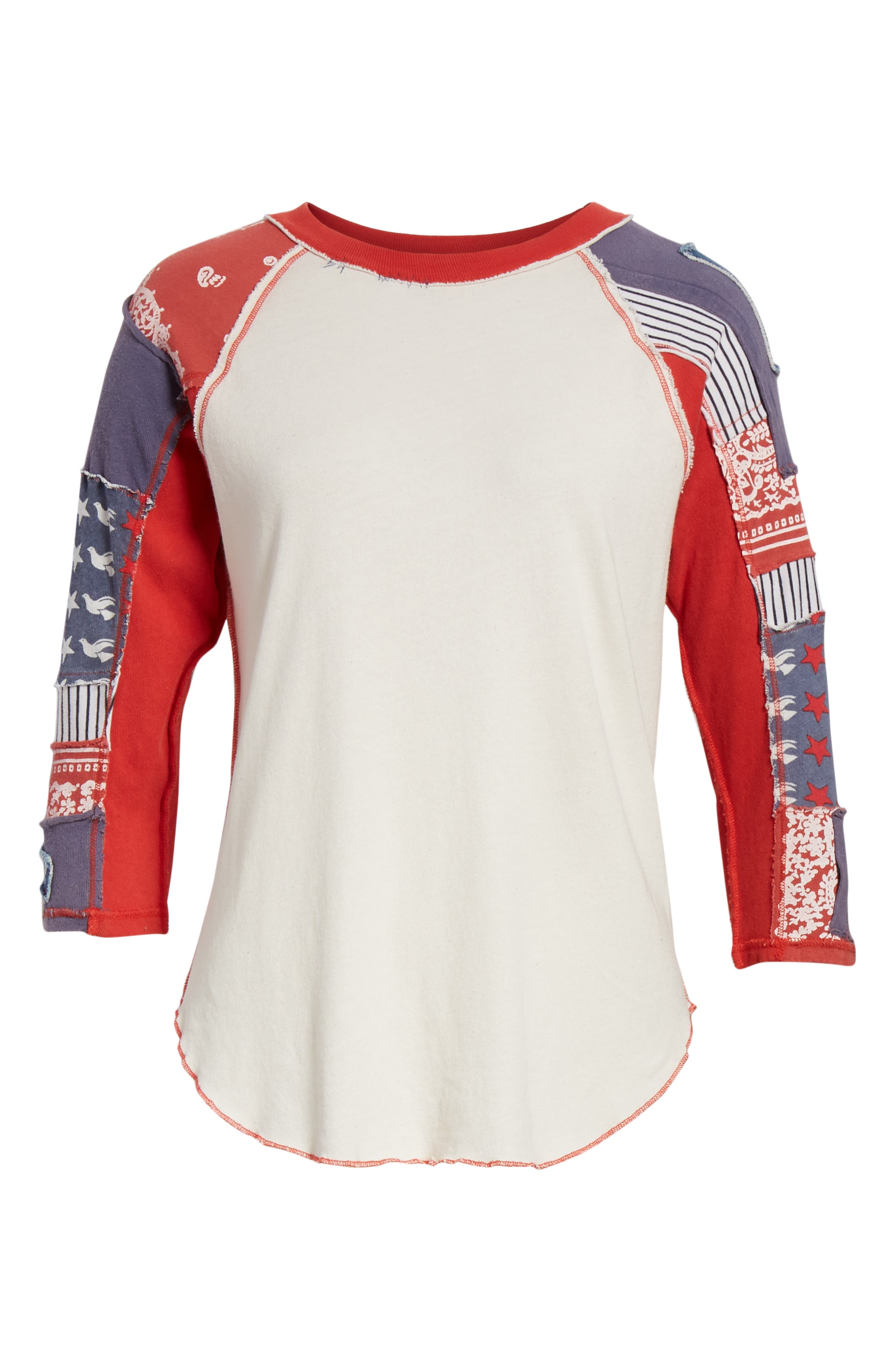 We the Free by Free People Bright Star Raglan Sleeve Tee,                             Alternate thumbnail 6, color,                             100