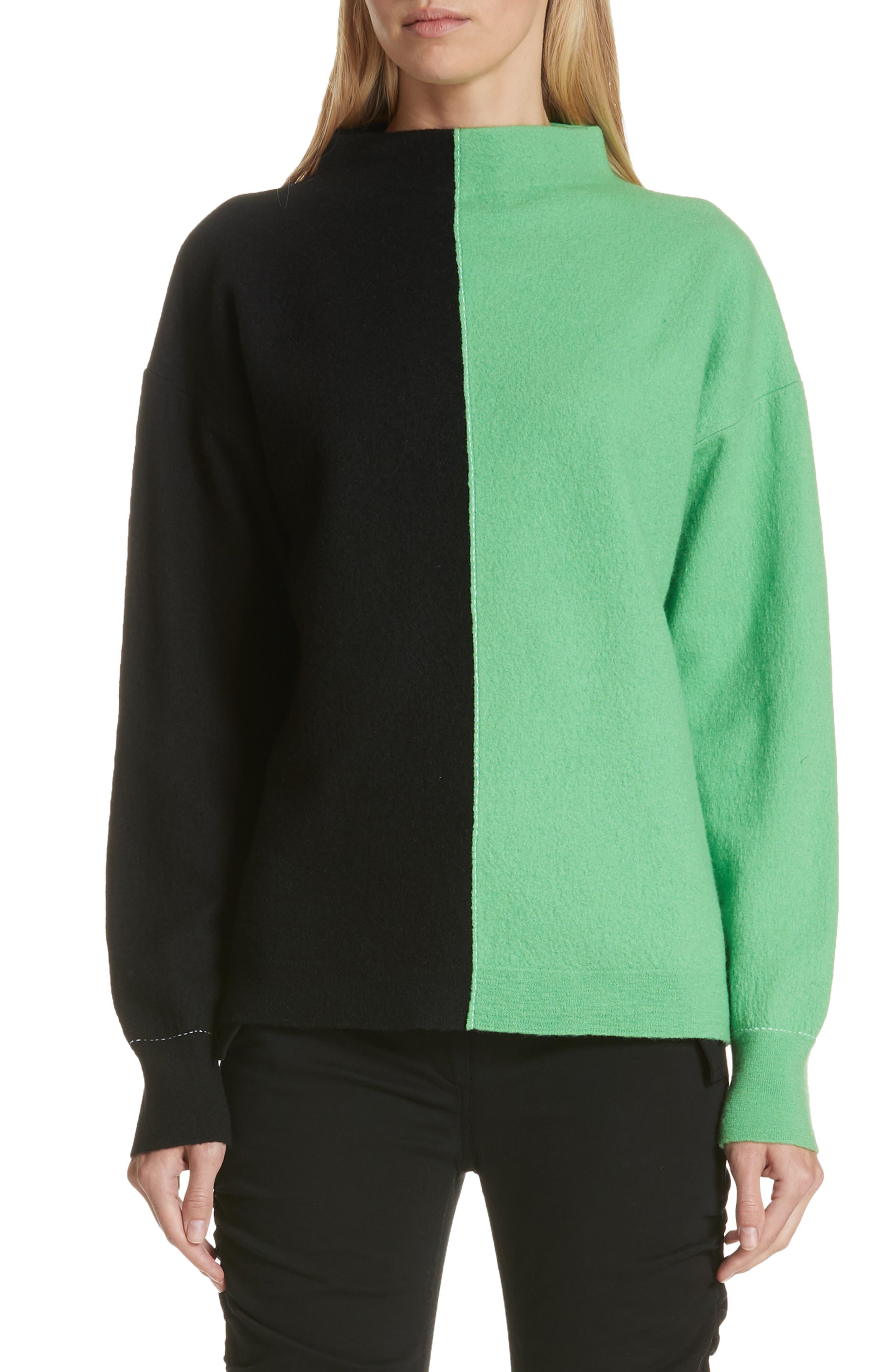 Bicolor Boiled Wool Sweater,                             Main thumbnail 1, color,                             BLACK/ GREEN