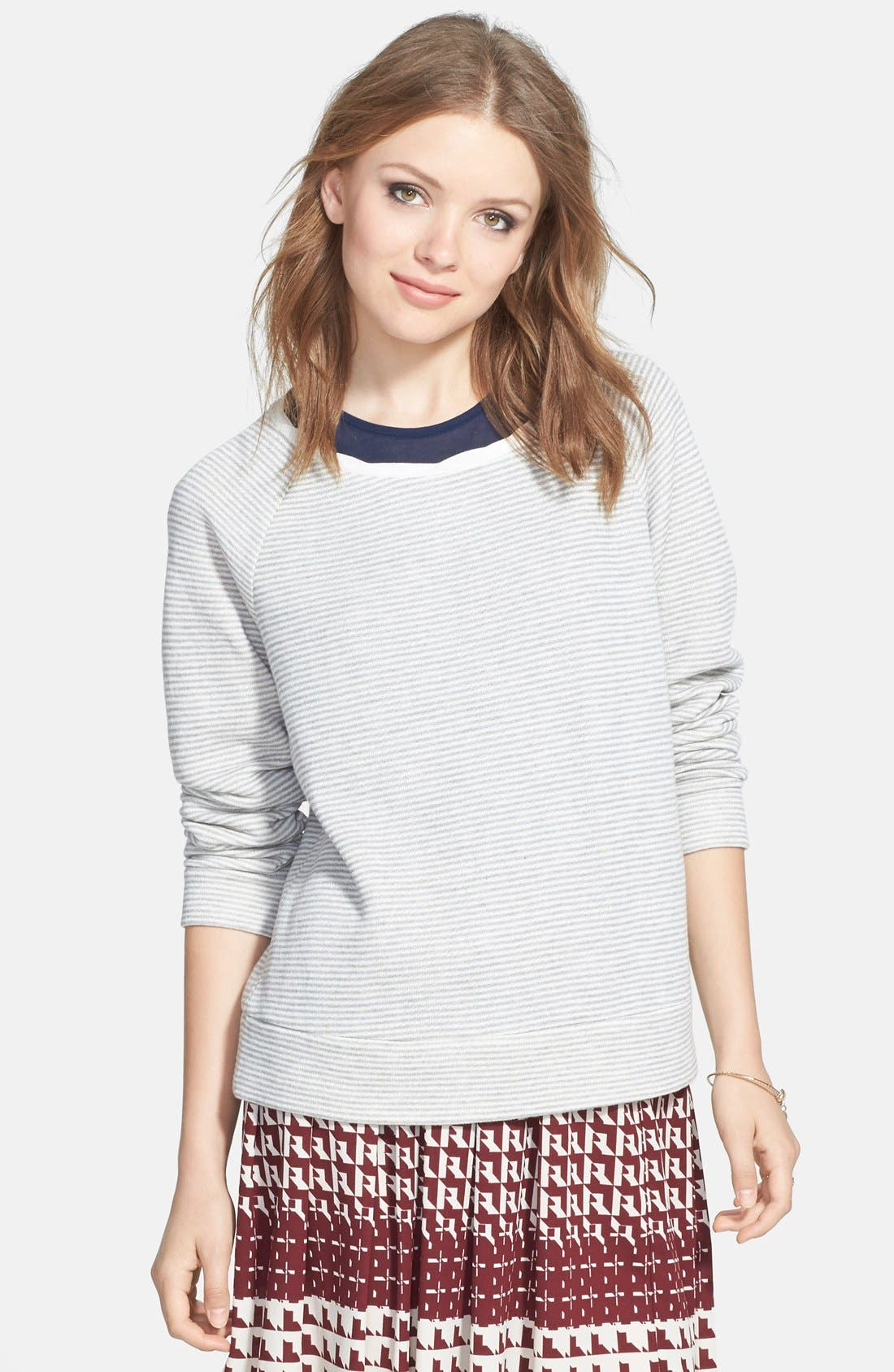 Stripe Raglan Sleeve Sweatshirt,                         Main,                         color, 020