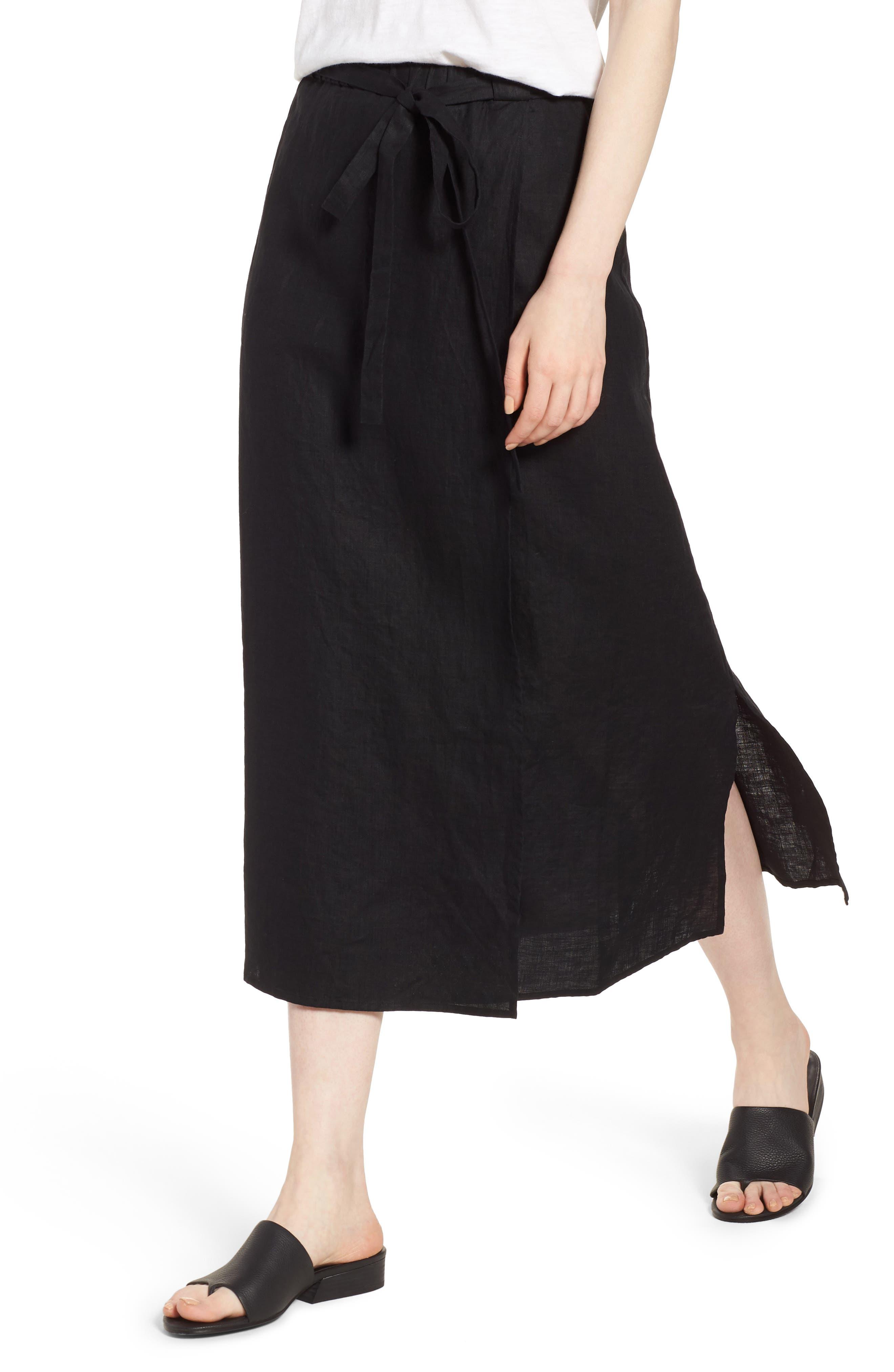 Faux Wrap Organic Linen Skirt,                             Alternate thumbnail 4, color,                             001