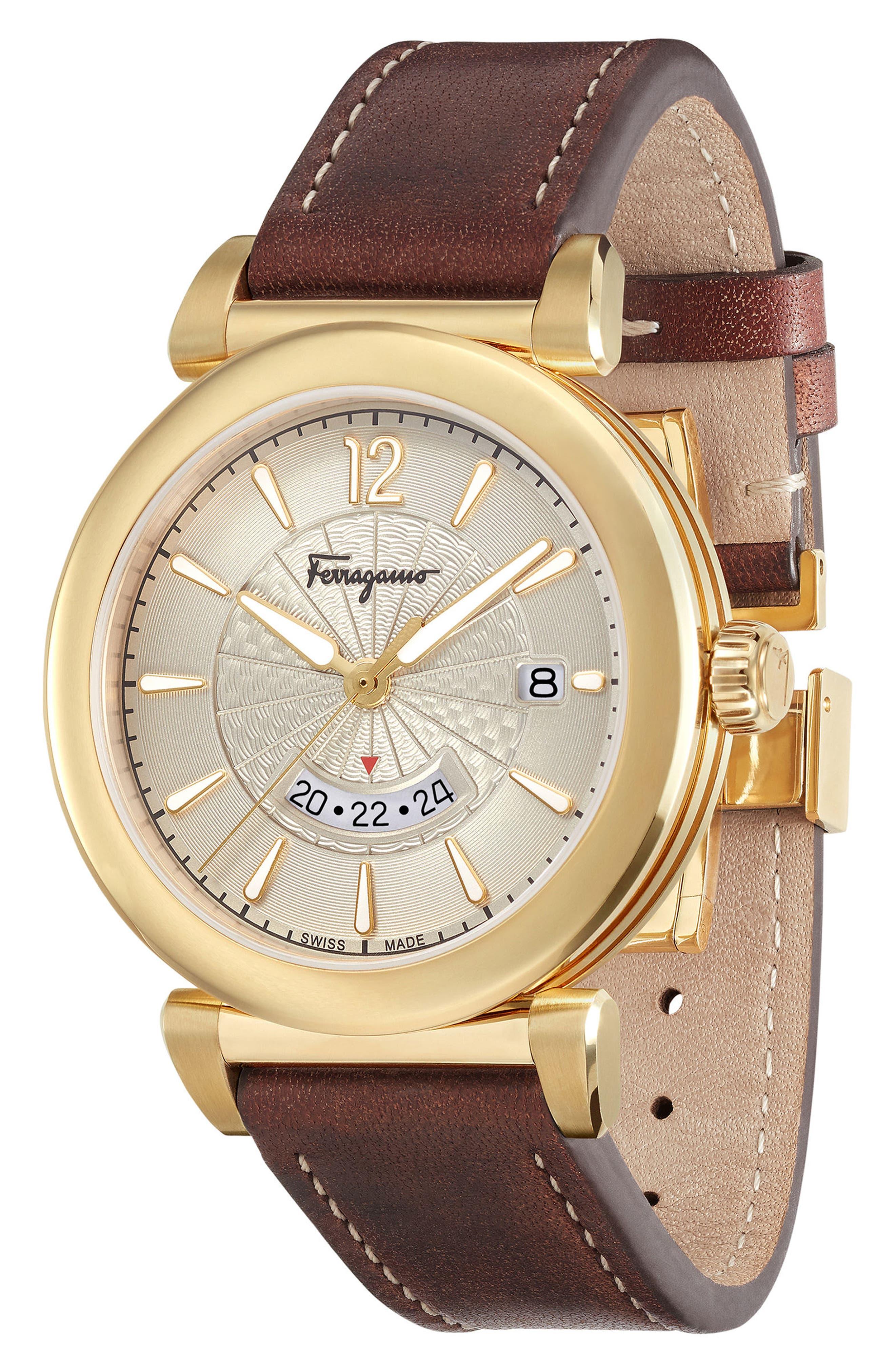 Feroni Leather Strap Watch, 40mm,                             Alternate thumbnail 3, color,                             200