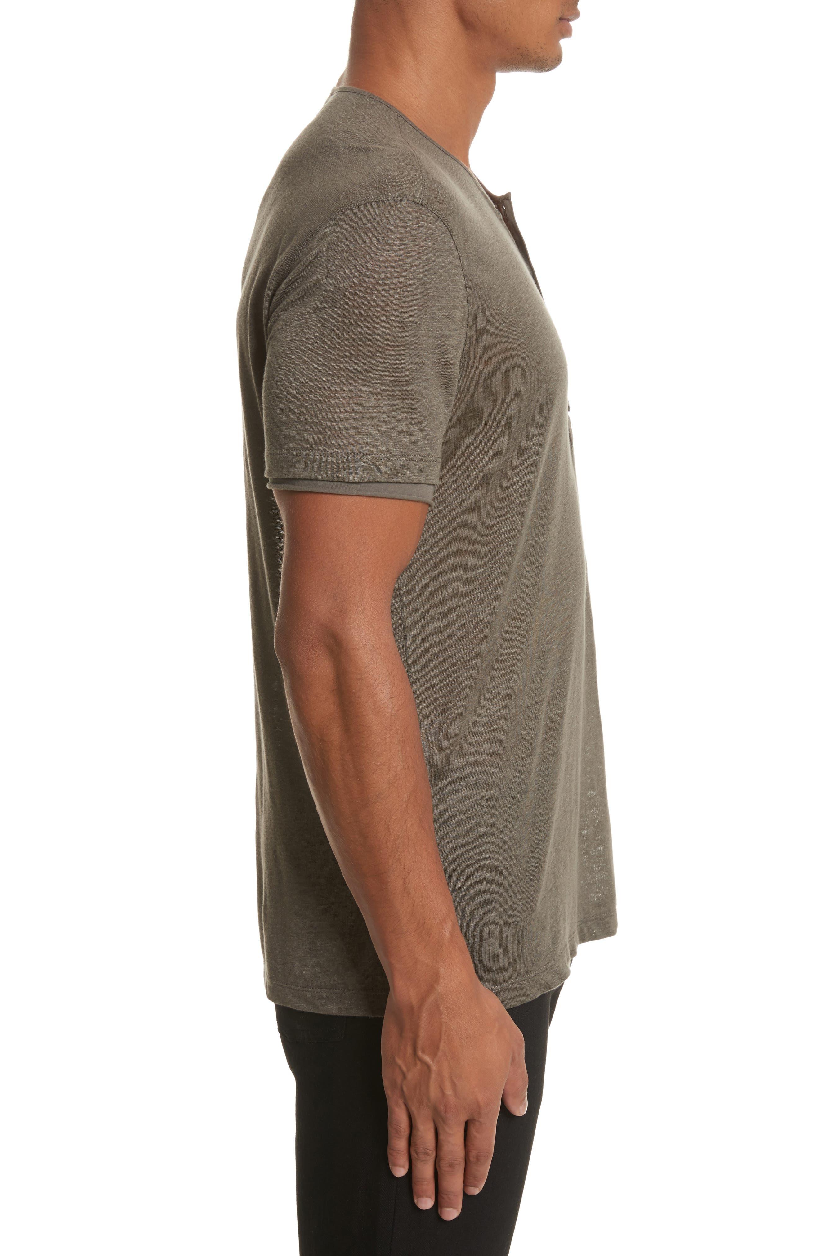 Linen Henley T-Shirt,                             Alternate thumbnail 3, color,                             336