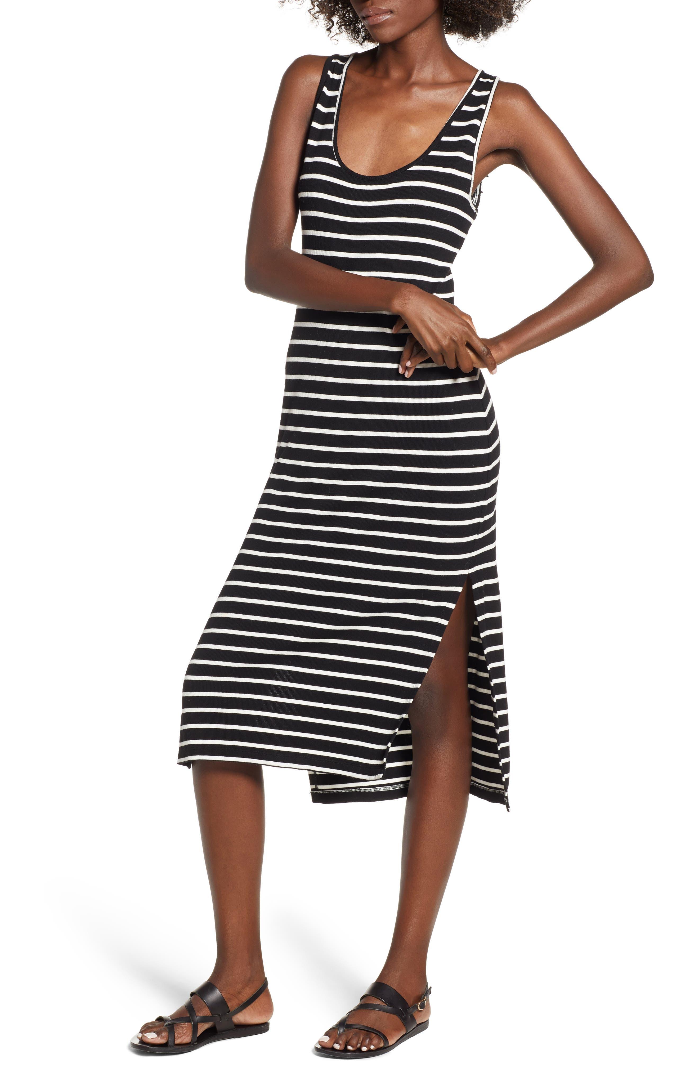 Rip Curl Essentials Stripe Midi Dress, Black
