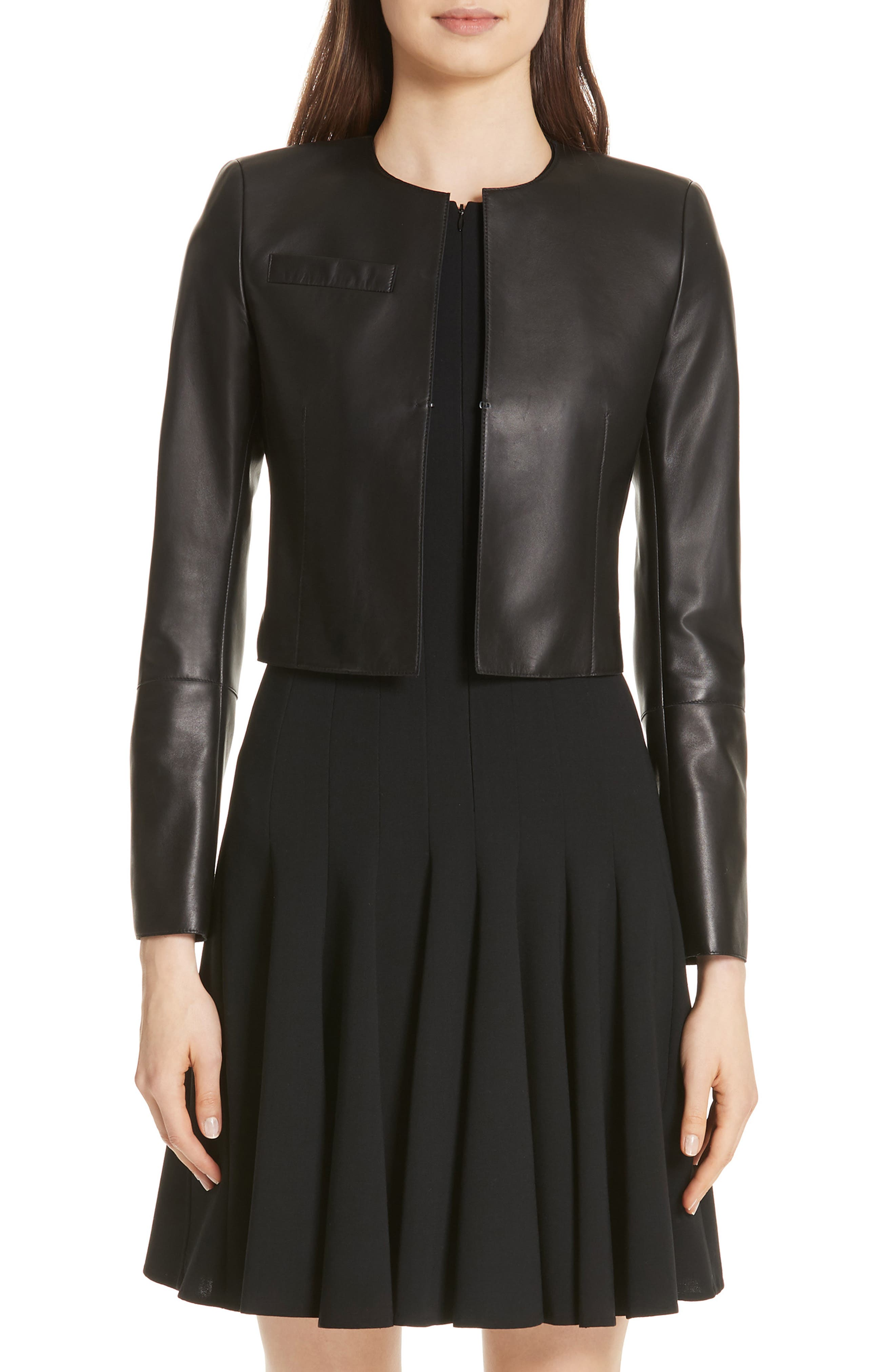 'Hasso' Leather Crop Jacket,                         Main,                         color, BLACK